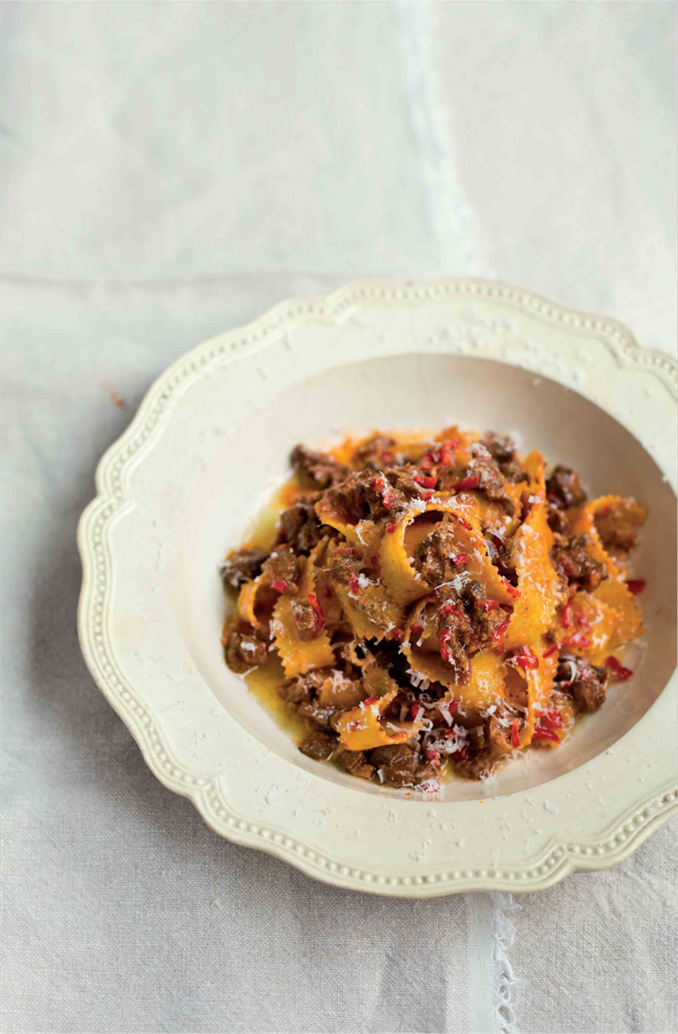Pasta ribbons with lamb offal