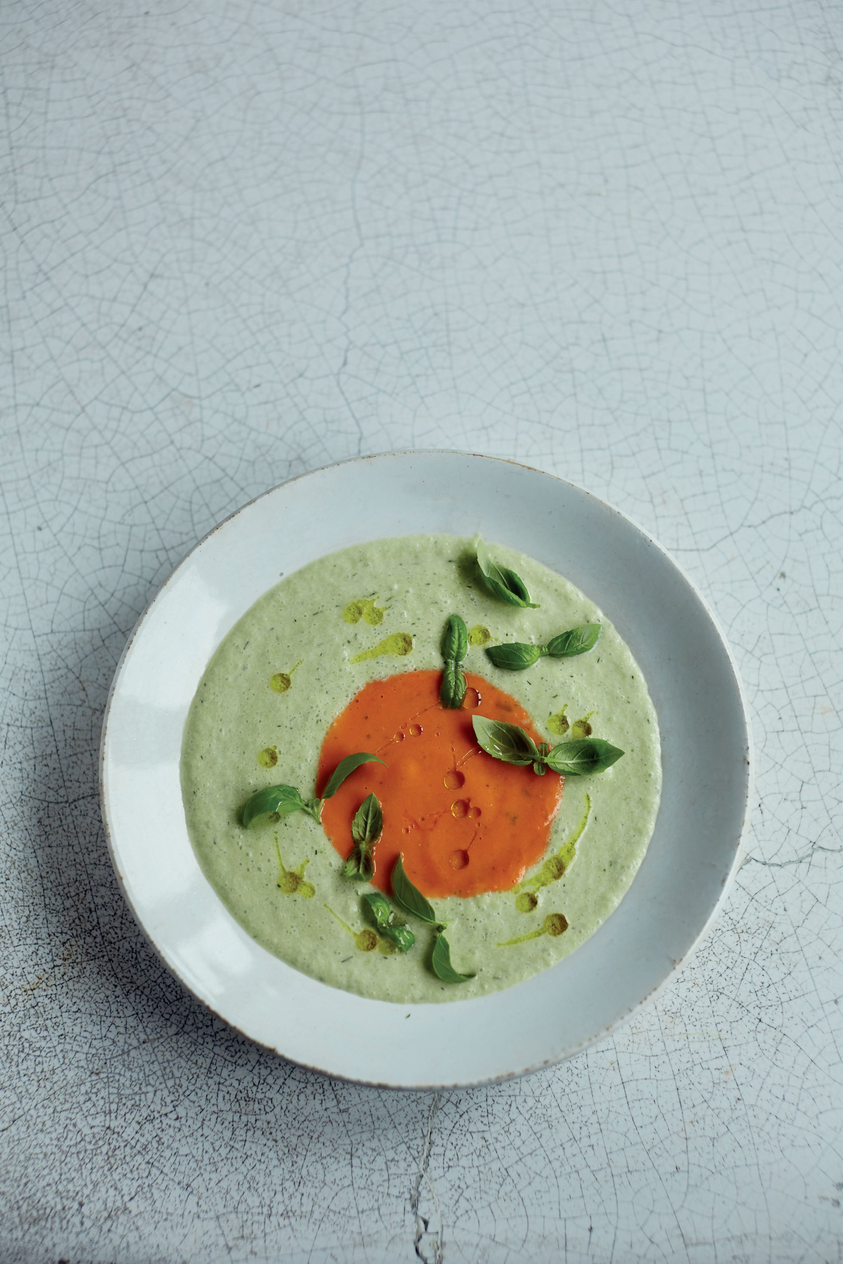 Summer cucumber and tomato soup
