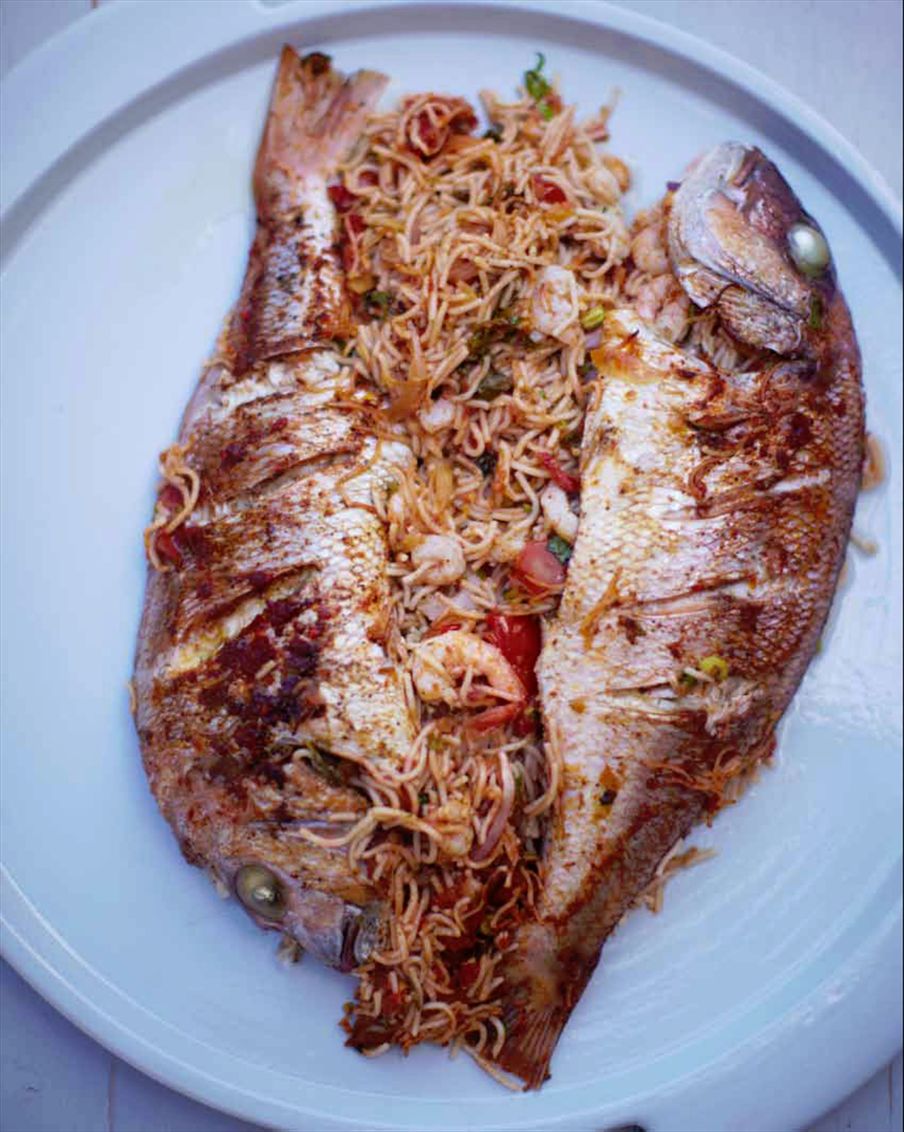 Roast stuffed fish