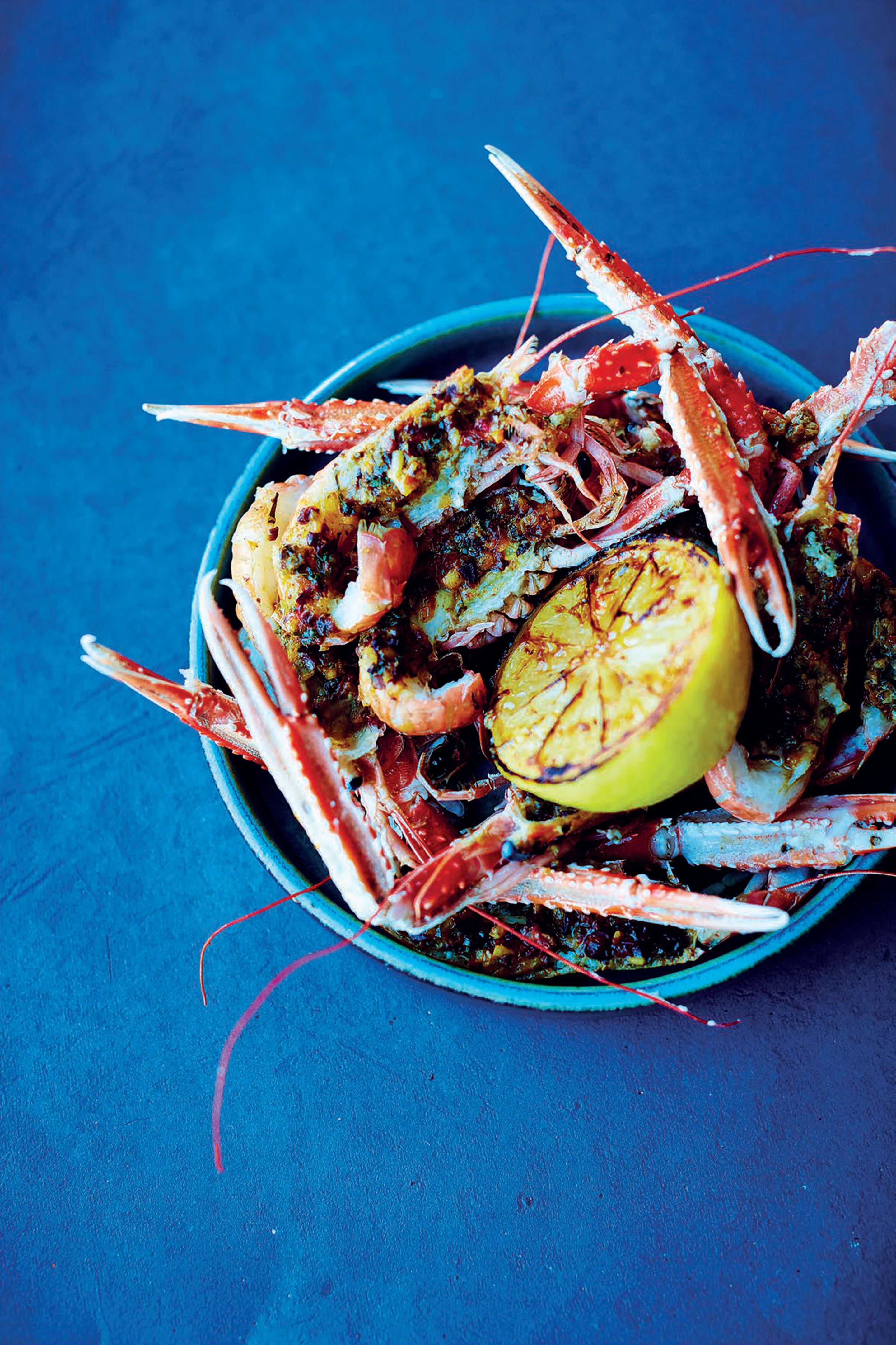 Scampi with saffron and olive butter