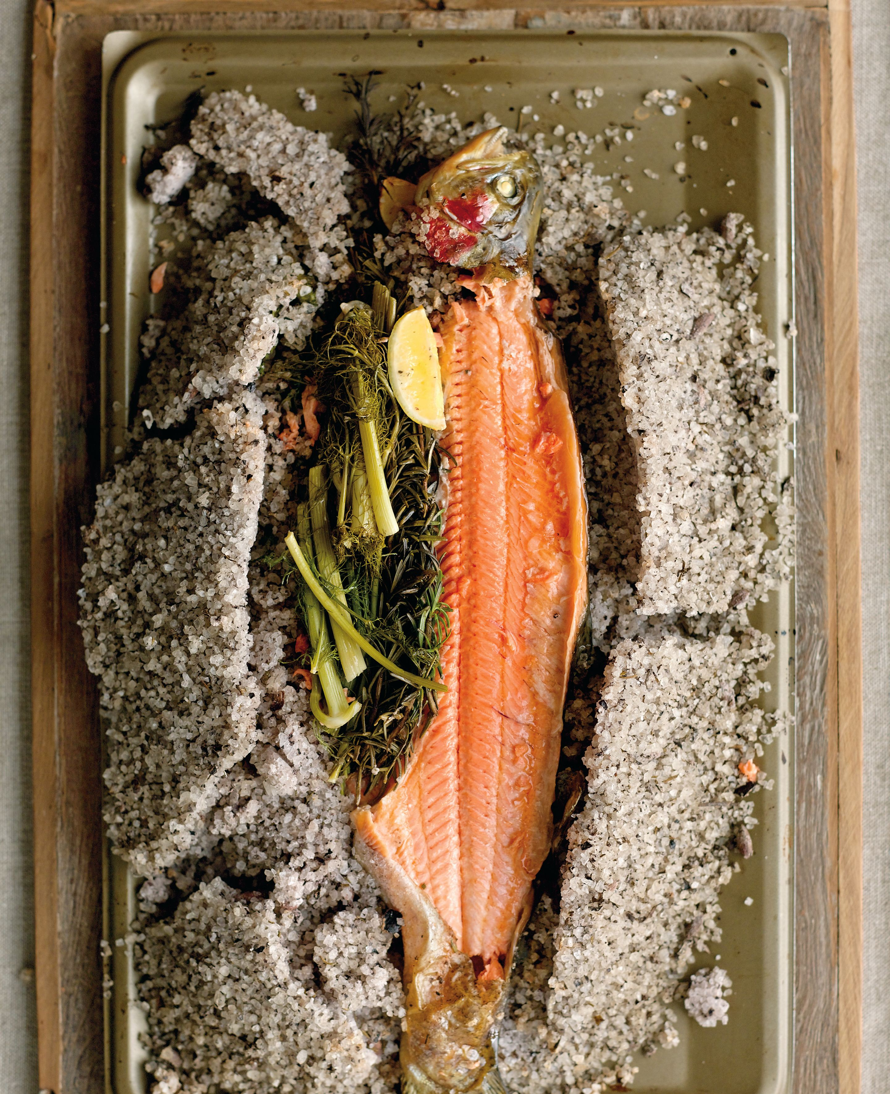 Olive and rosemary salt-crusted ocean trout