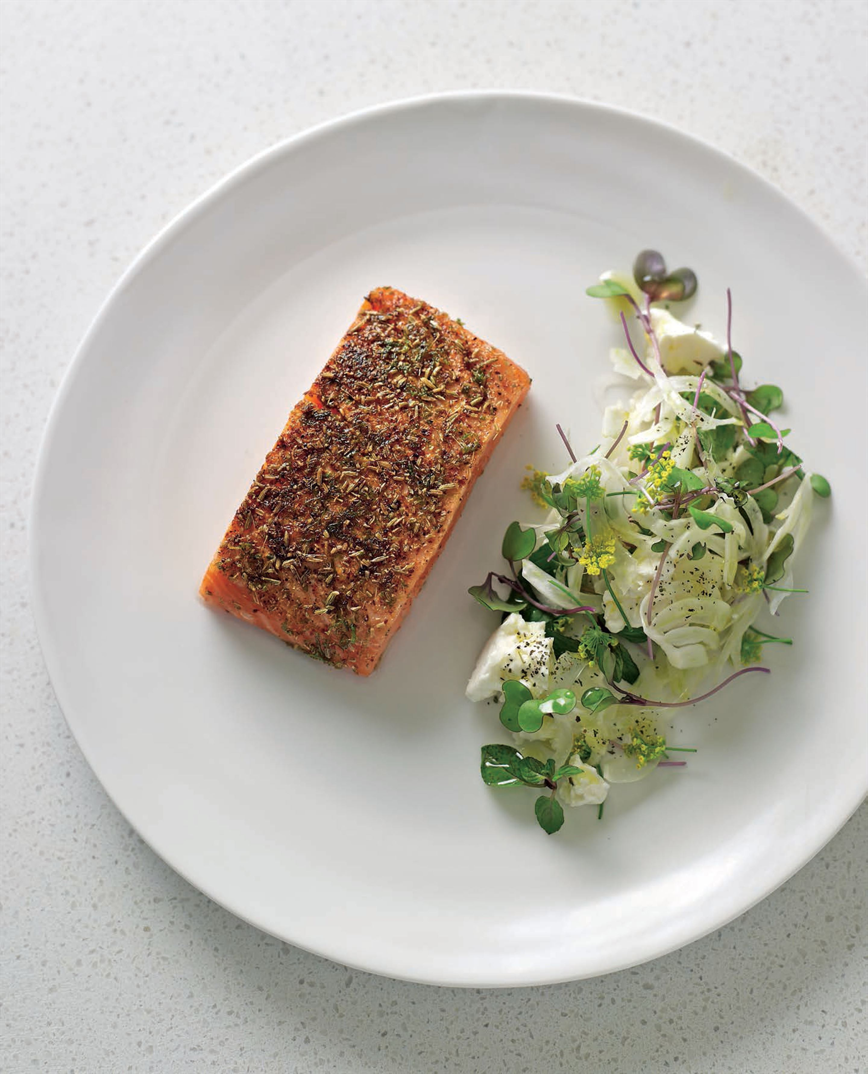 Salmon grilled with fennel, lime and sumac