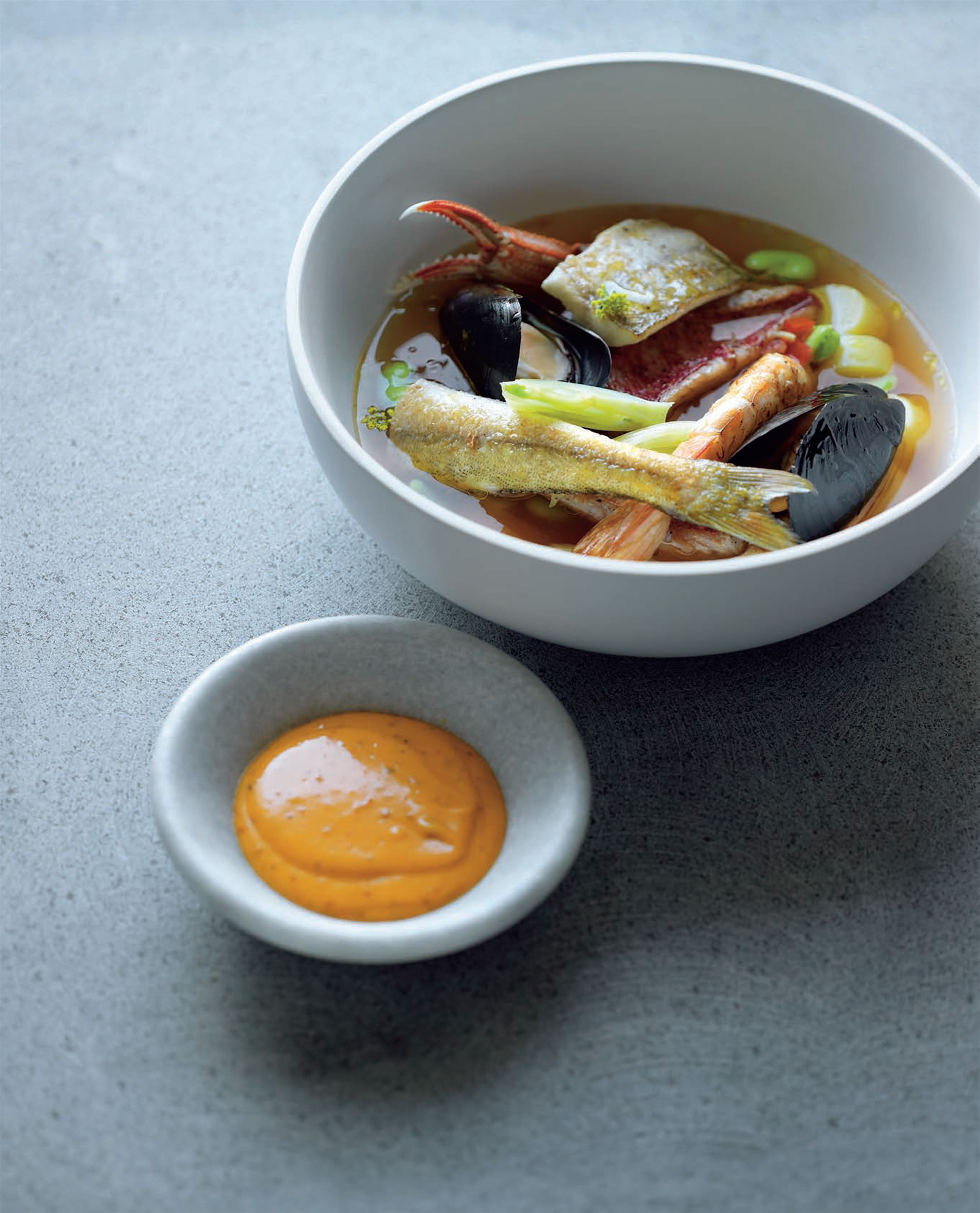 Grilled seafood bouillabaisse
