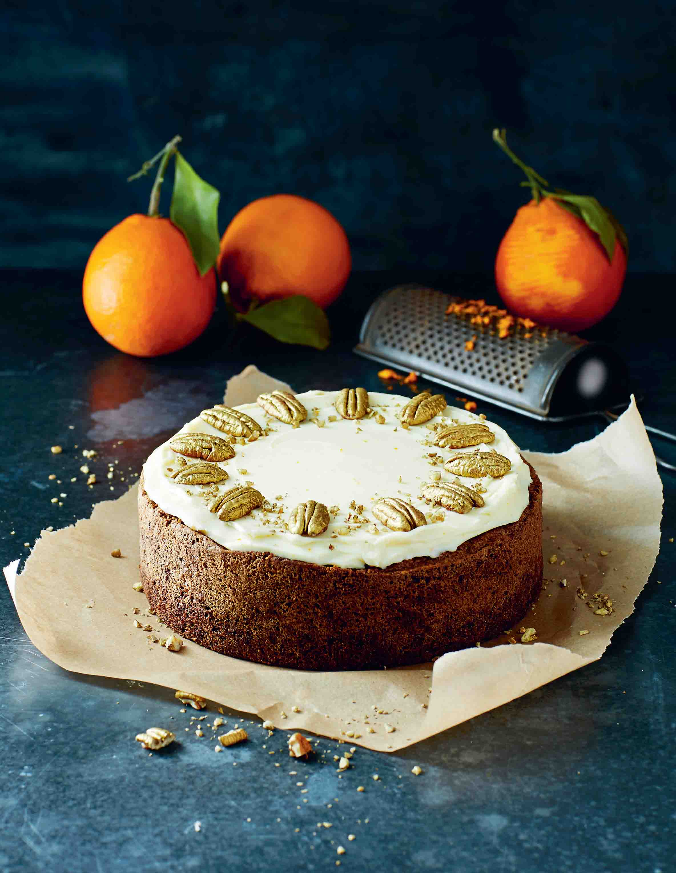 Carrot, orange and golden pecan cake