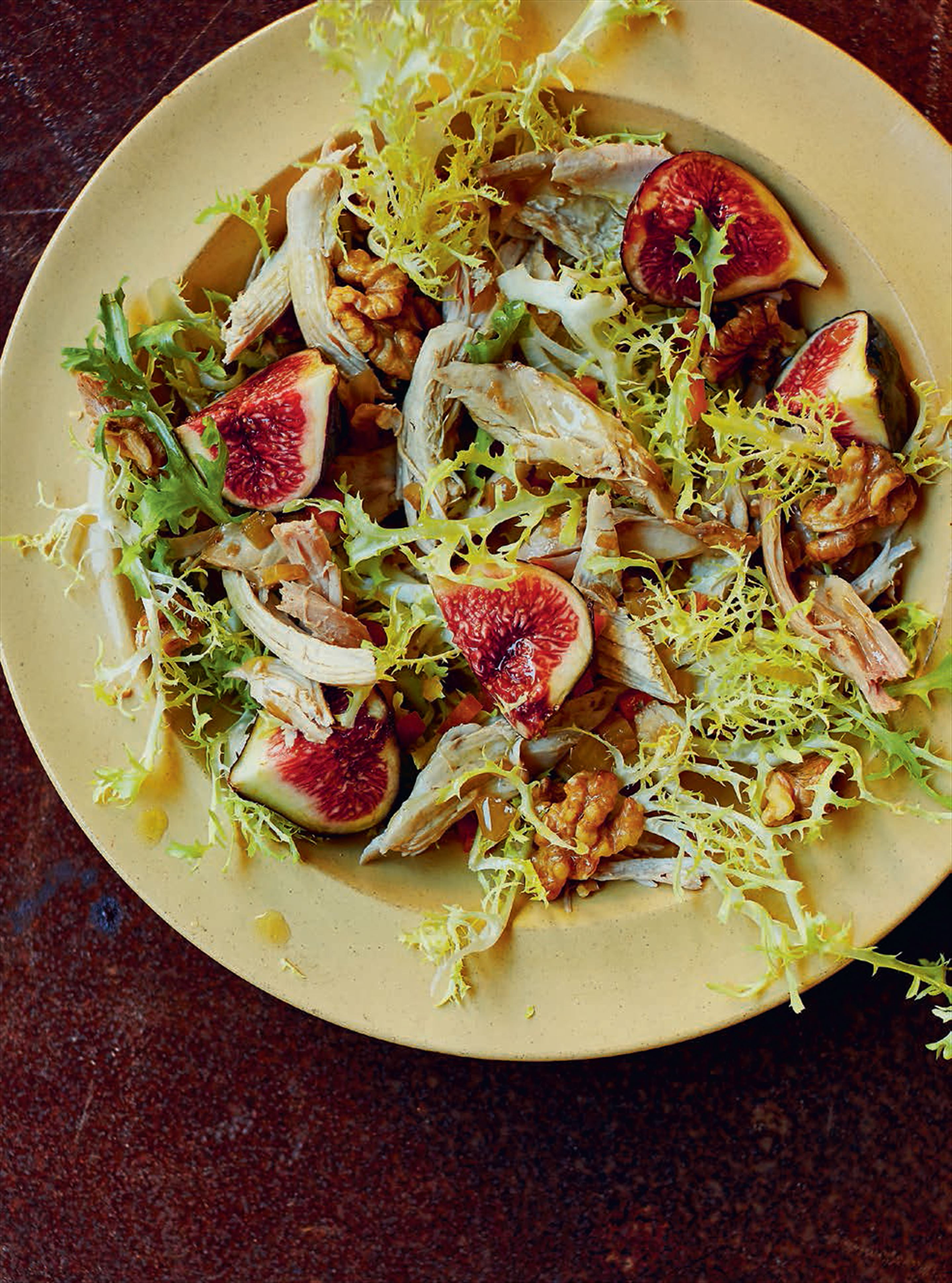 Salad of partridge escabeche, walnuts & figs