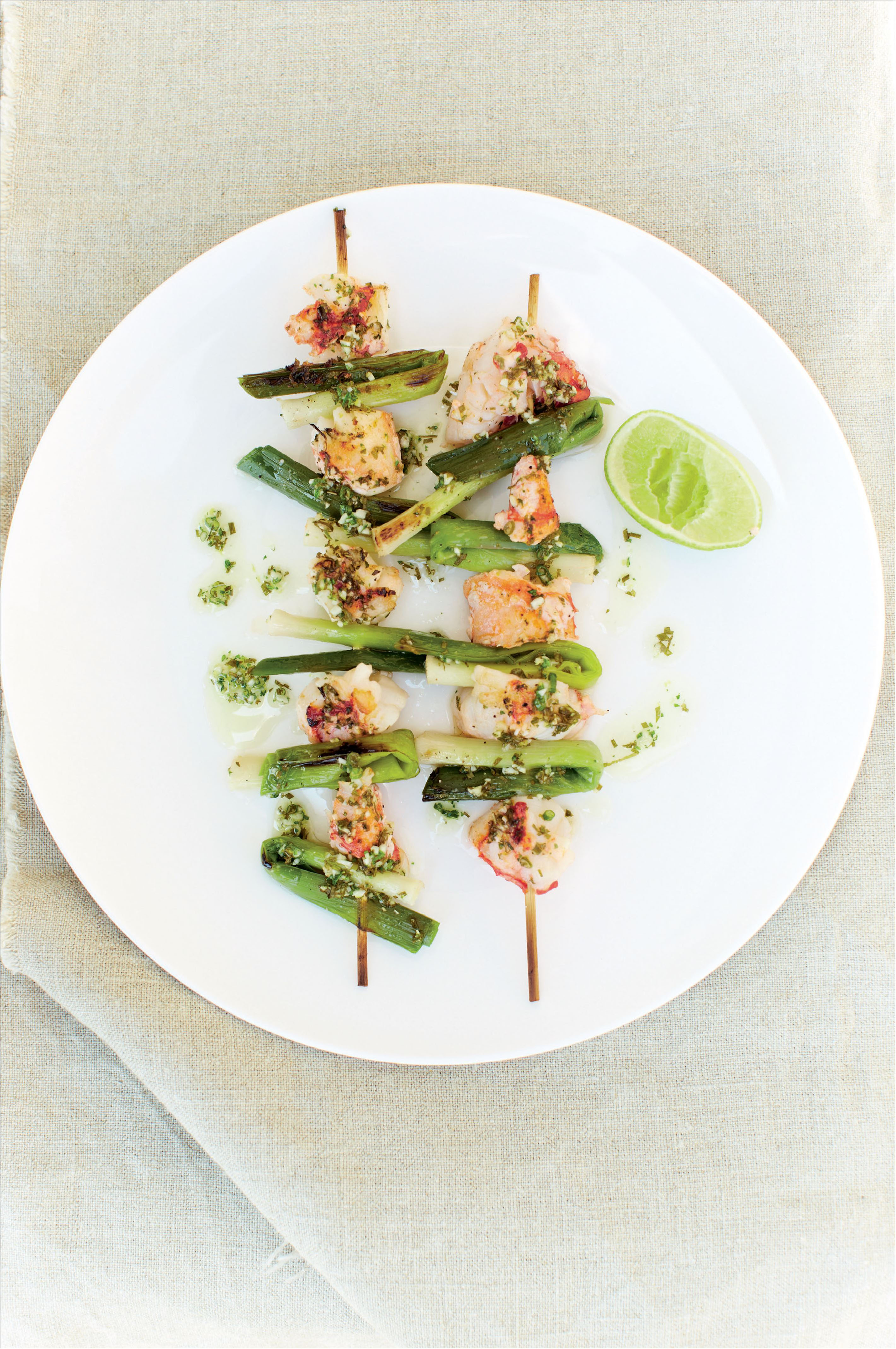 Lightly pickled lobster and leek kebabs