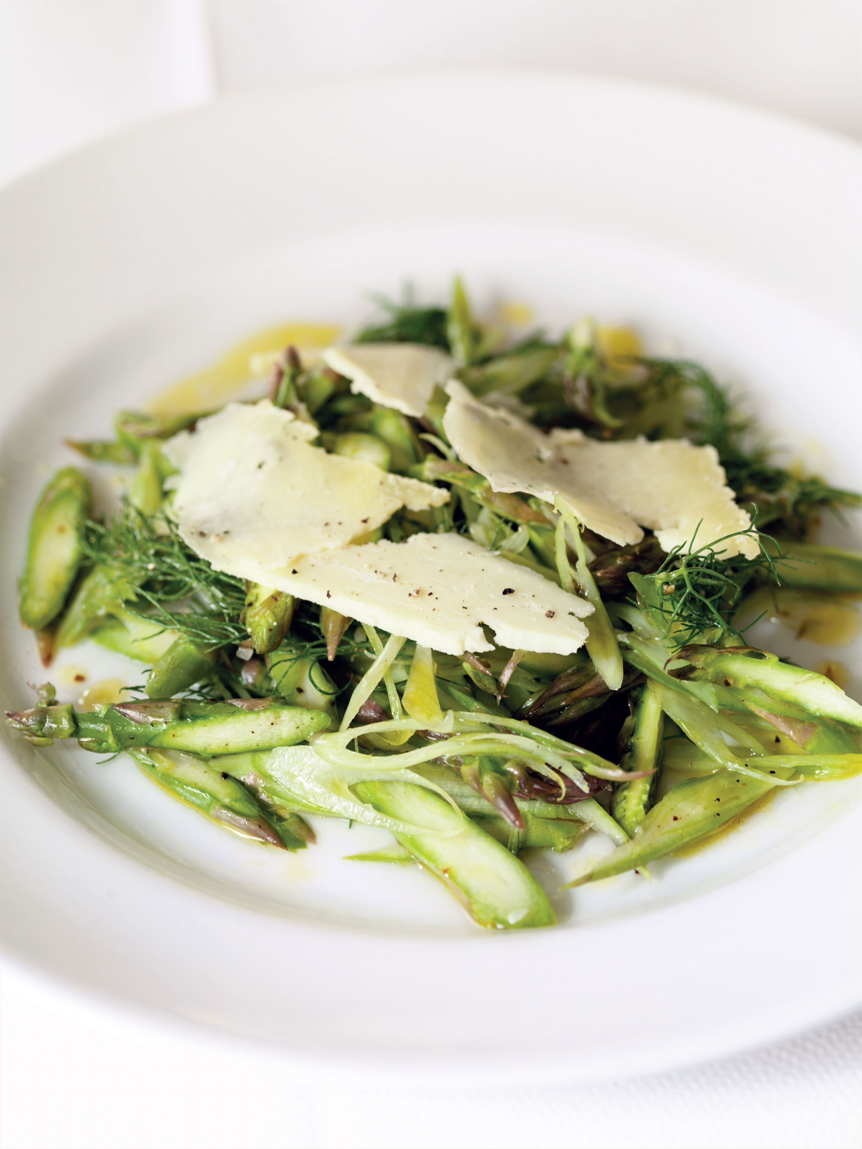 Shaved asparagus and fennel with aged caerphilly