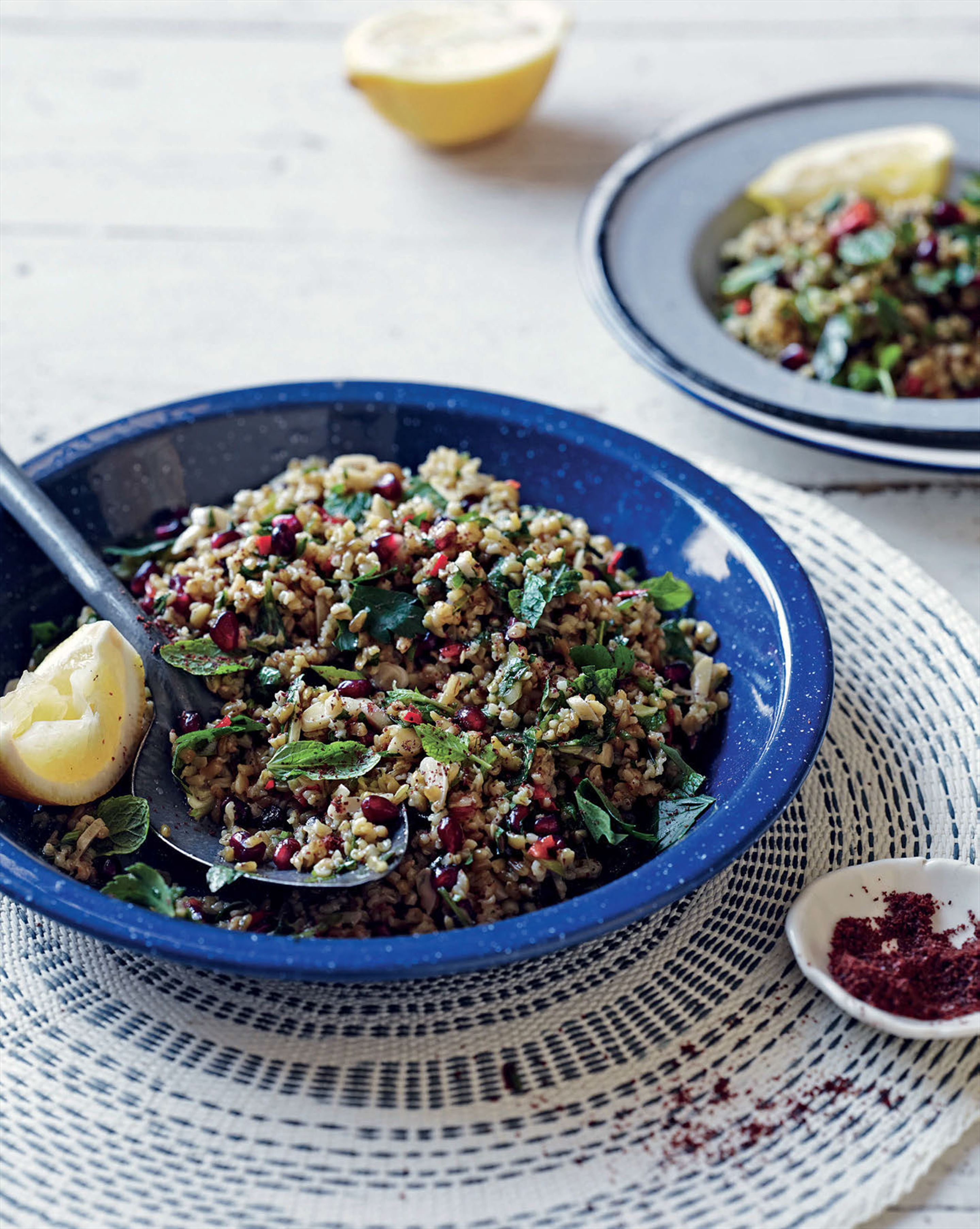 Freekeh salad with almonds and pomegranate
