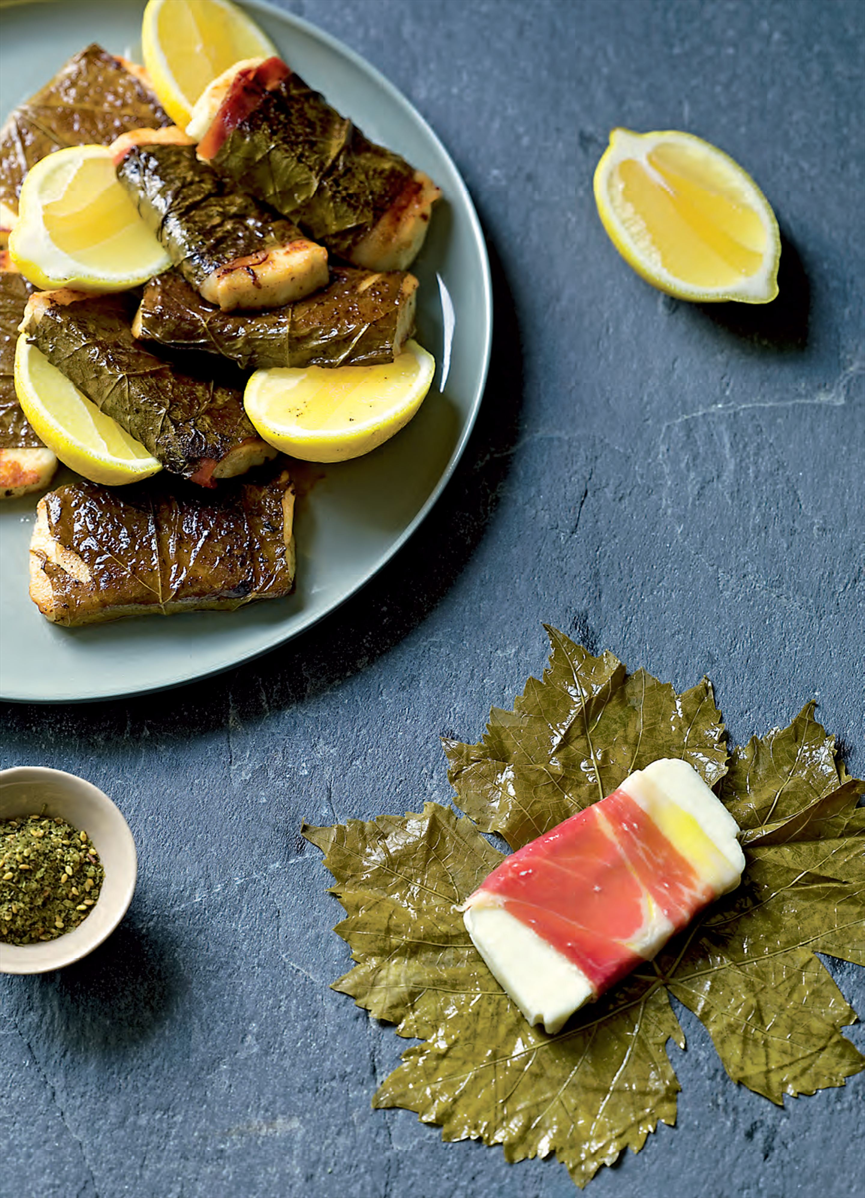 Haloumi grilled in vine leaves