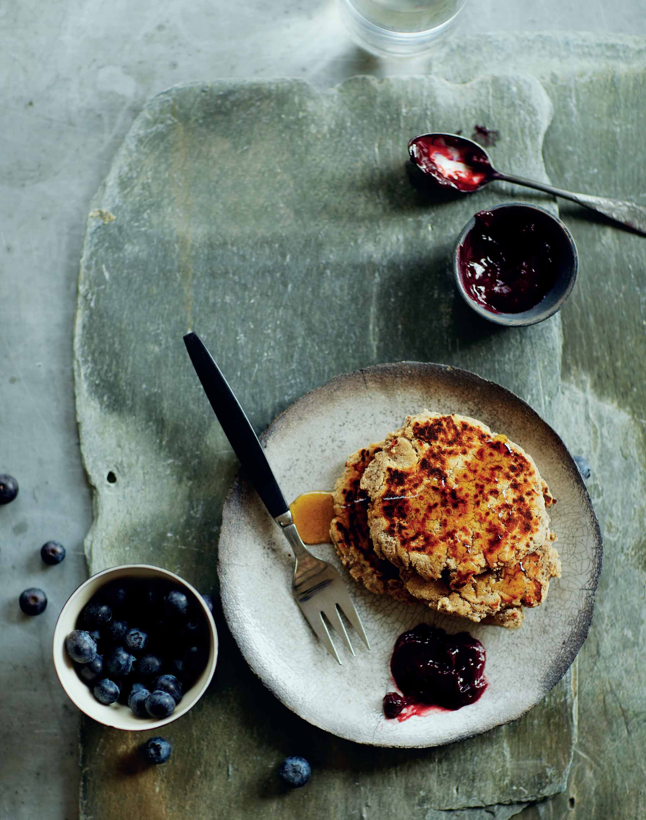 Chia and Coconut Flour Pancakes with Blueberry Baobab Sauce