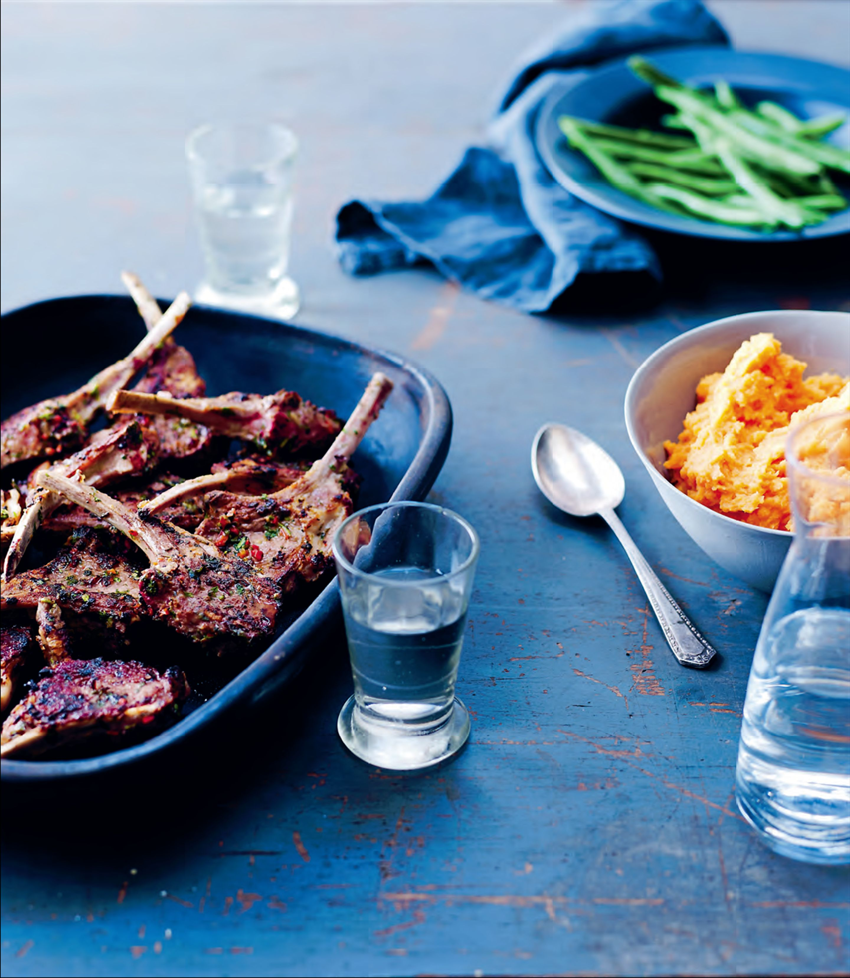Coriander and chilli-crusted lamb cutlets with sweet potato mash