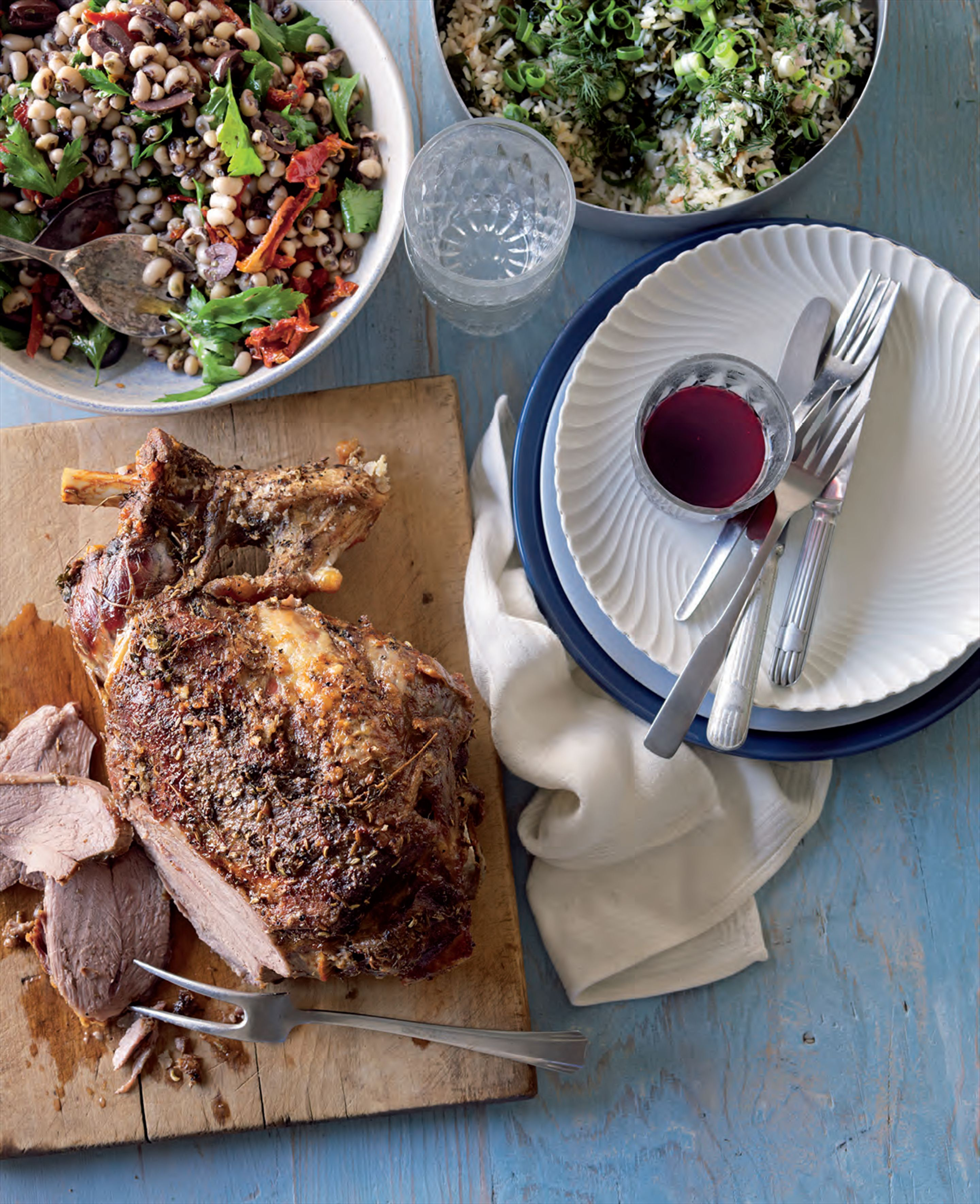 Slow-roasted lamb with salad of black-eyed peas and herbs