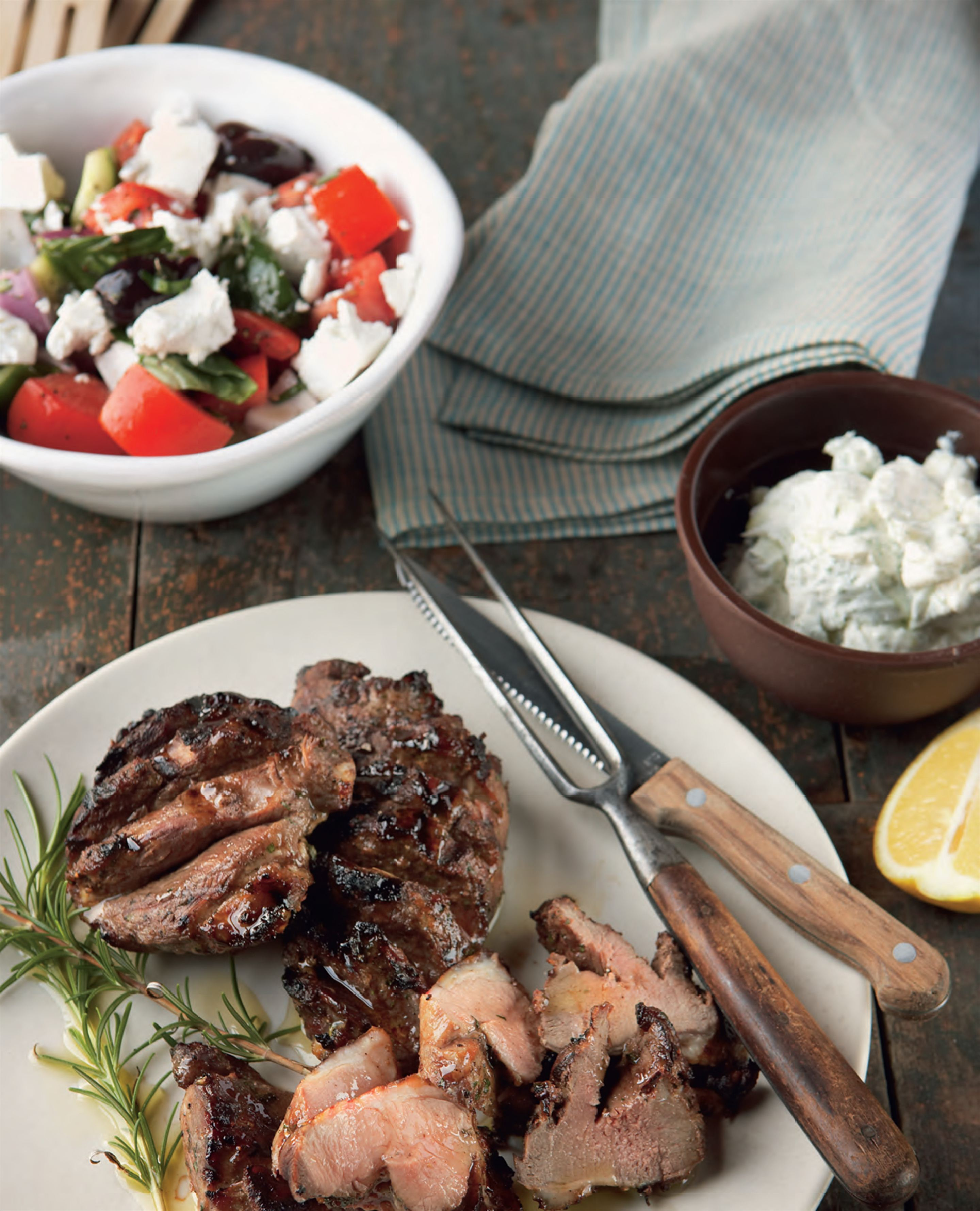 Barbecued butterflied lamb with honey and rosemary