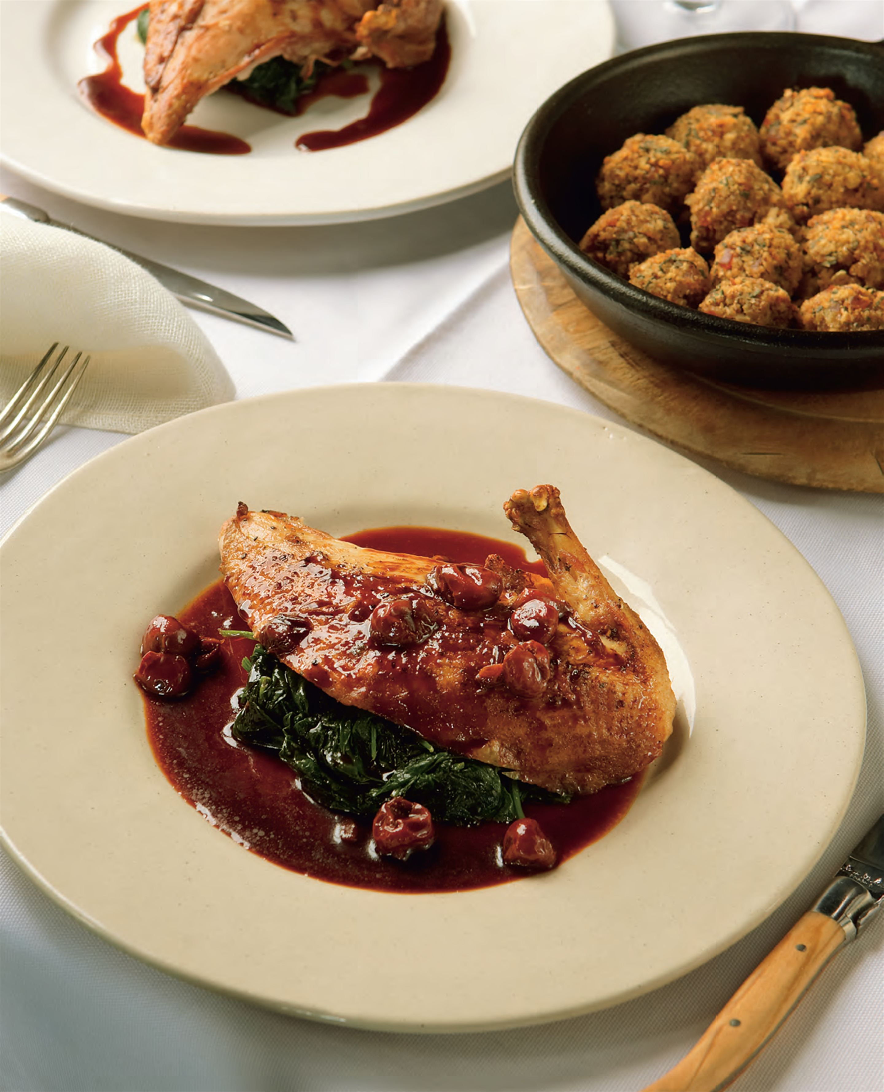Roast pheasant with caramelised cherry and brandy glaze