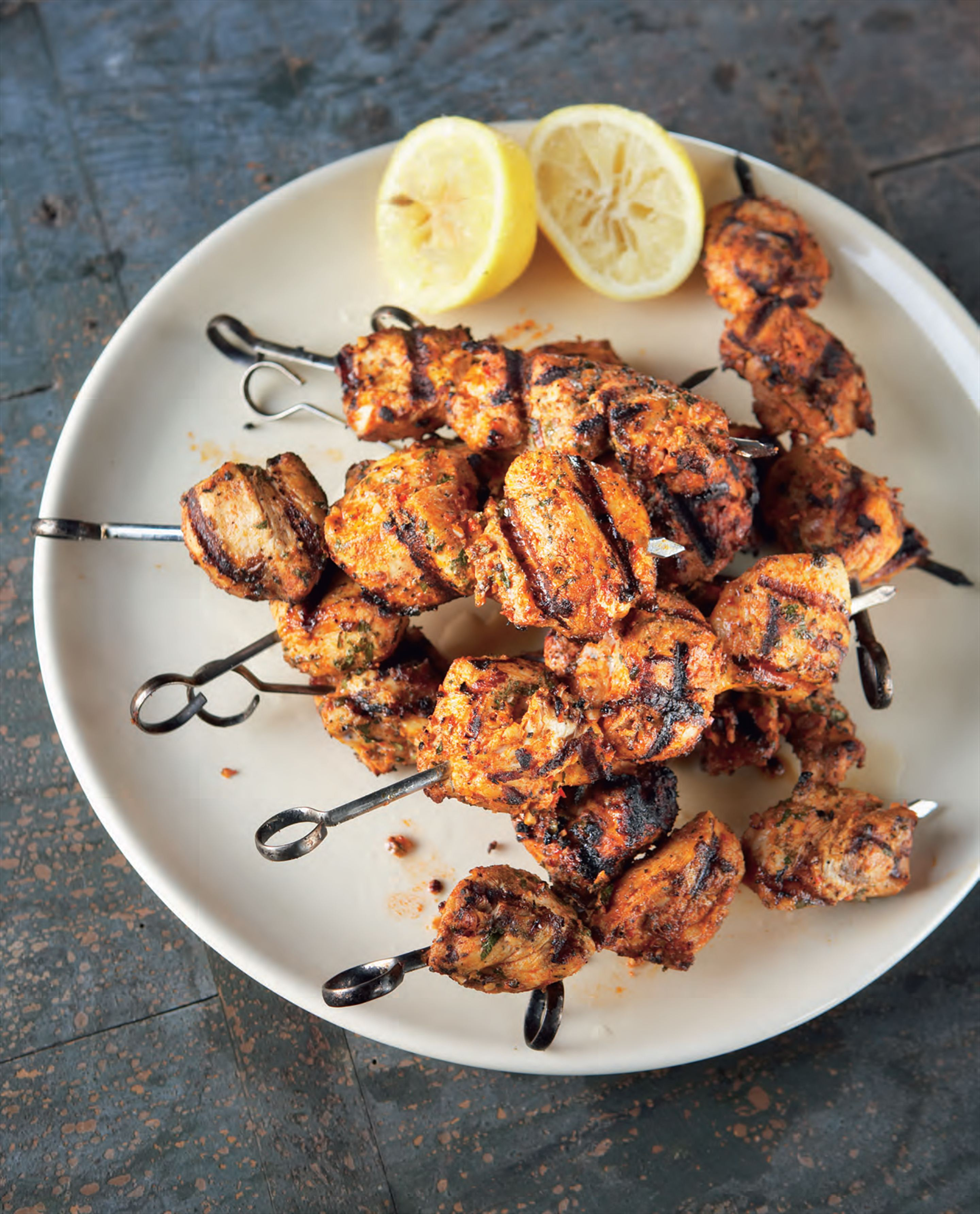 Portuguese-style barbecued chicken skewers