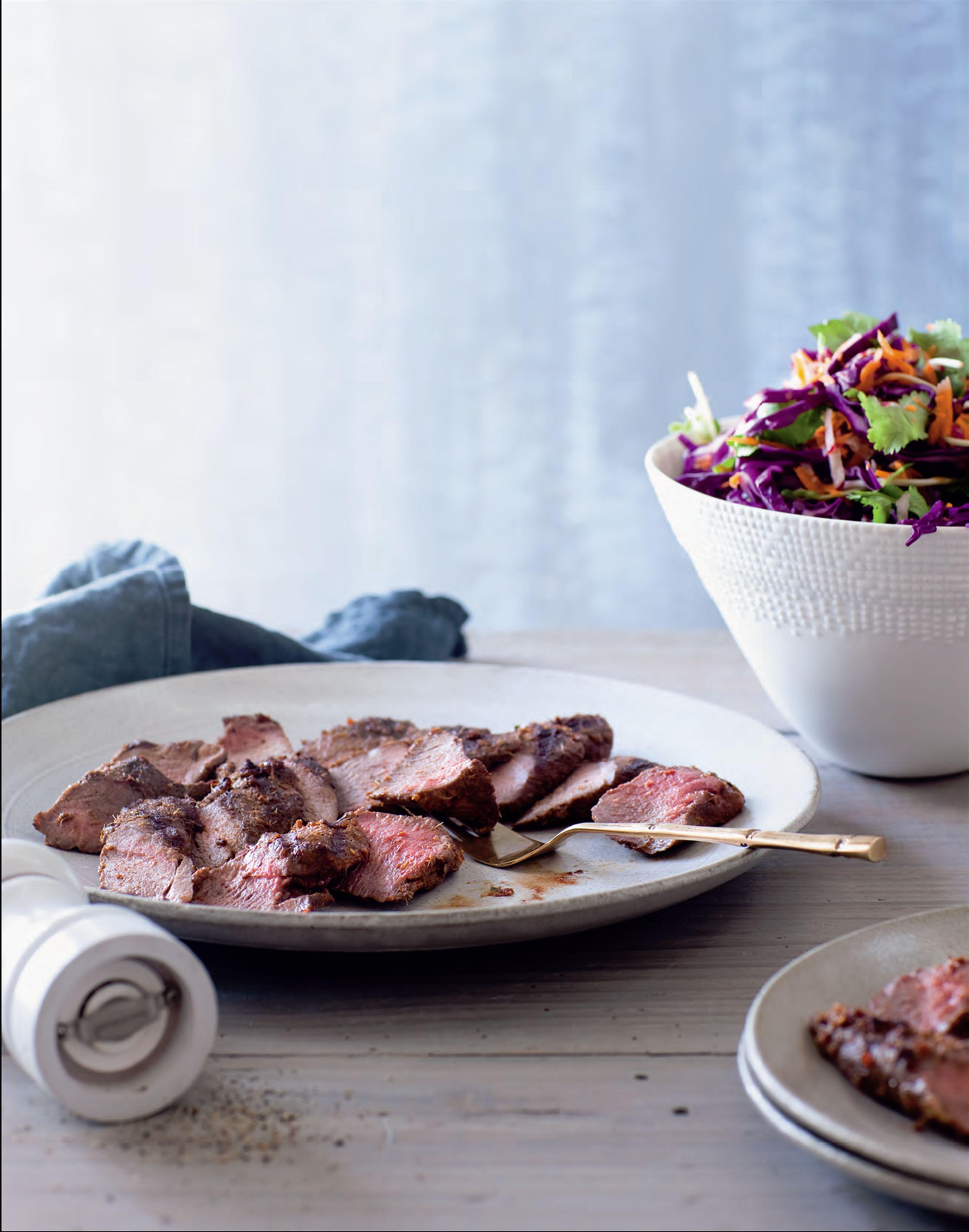 Red lamb backstraps with chilli coleslaw