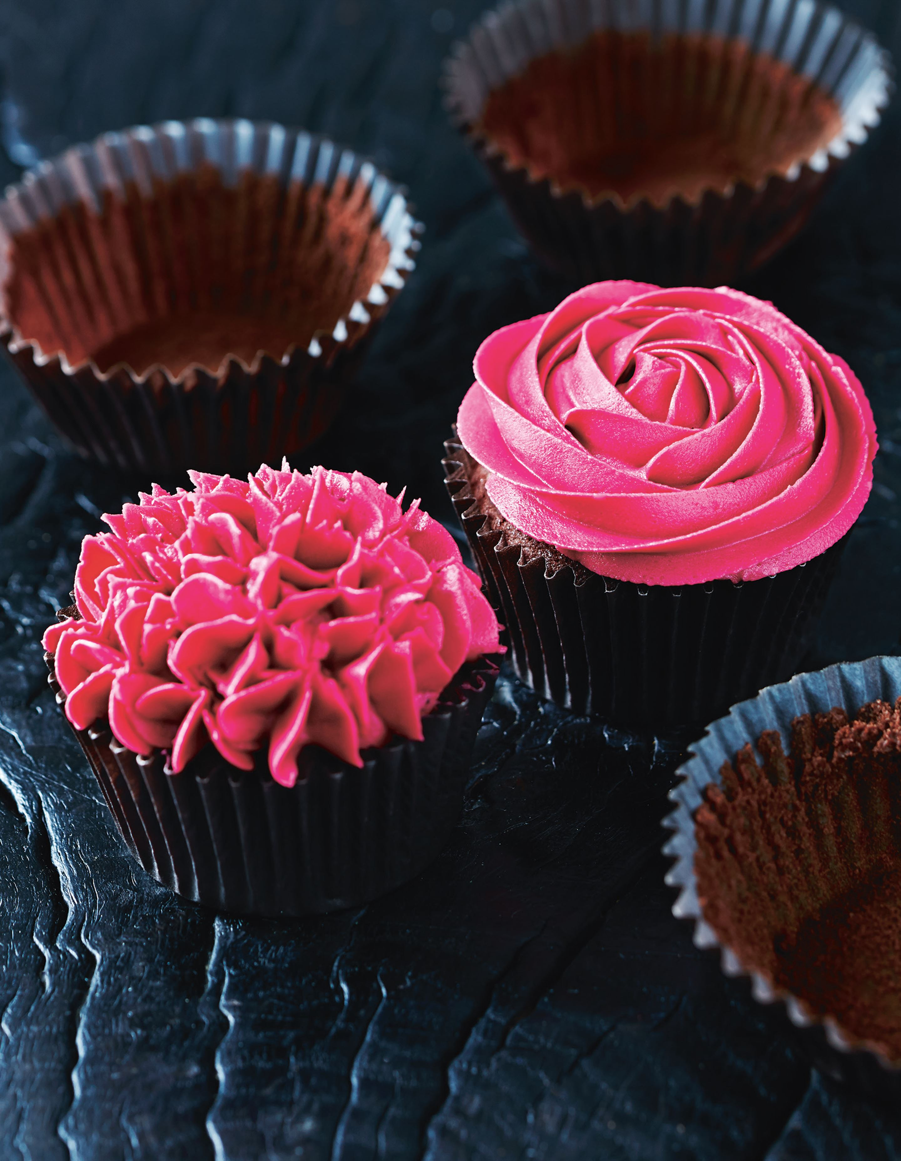 Raspberry, rose and chocolate cupcakes