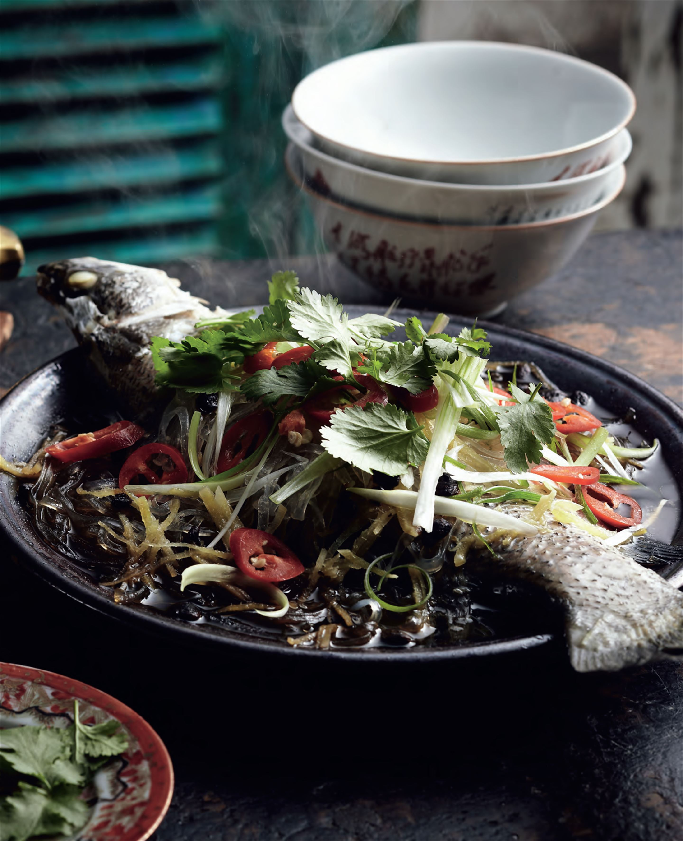 Steamed fish with fermented soya beans and glass noodles