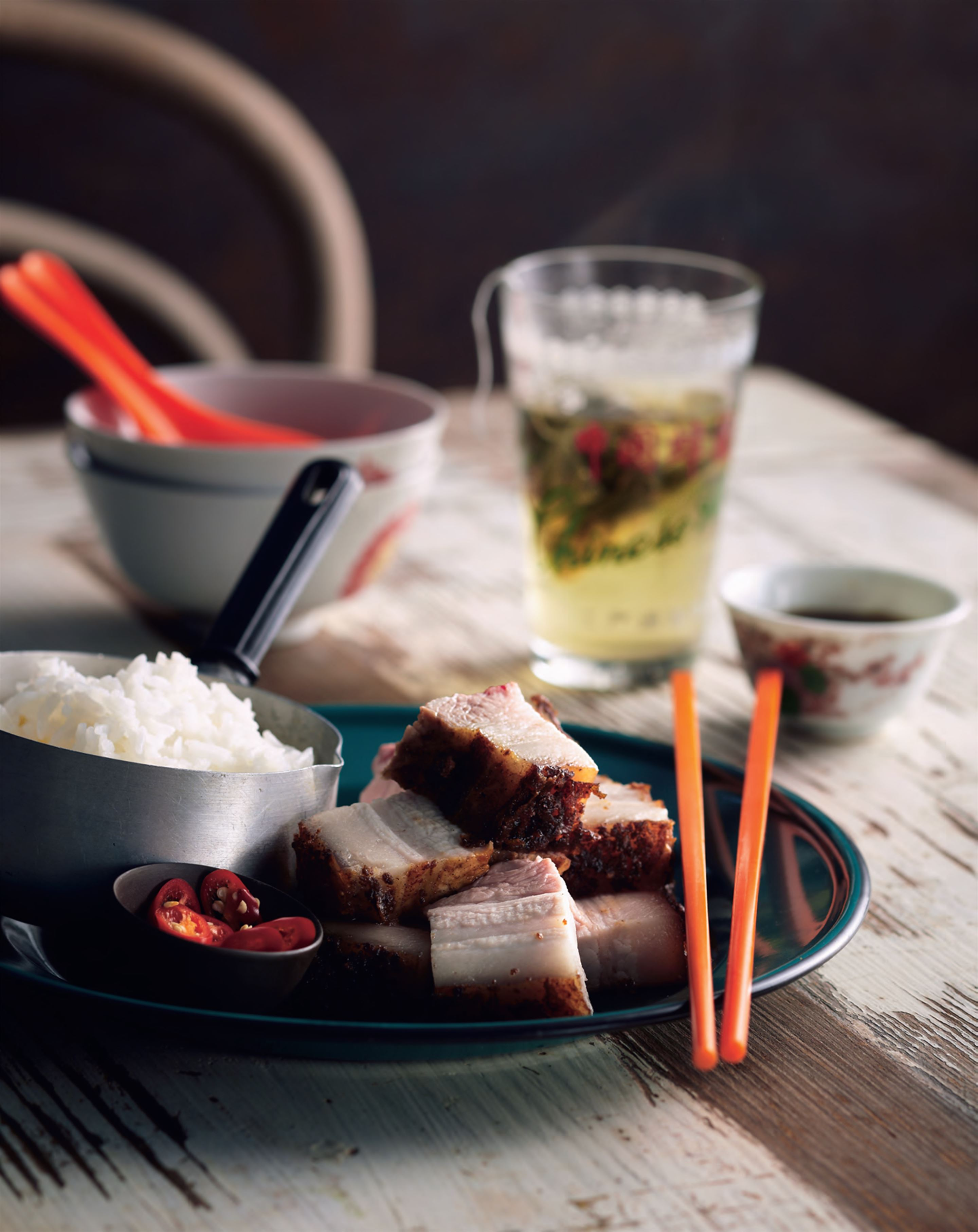 Roasted pork belly marinated with five-spice and preserved bean curd
