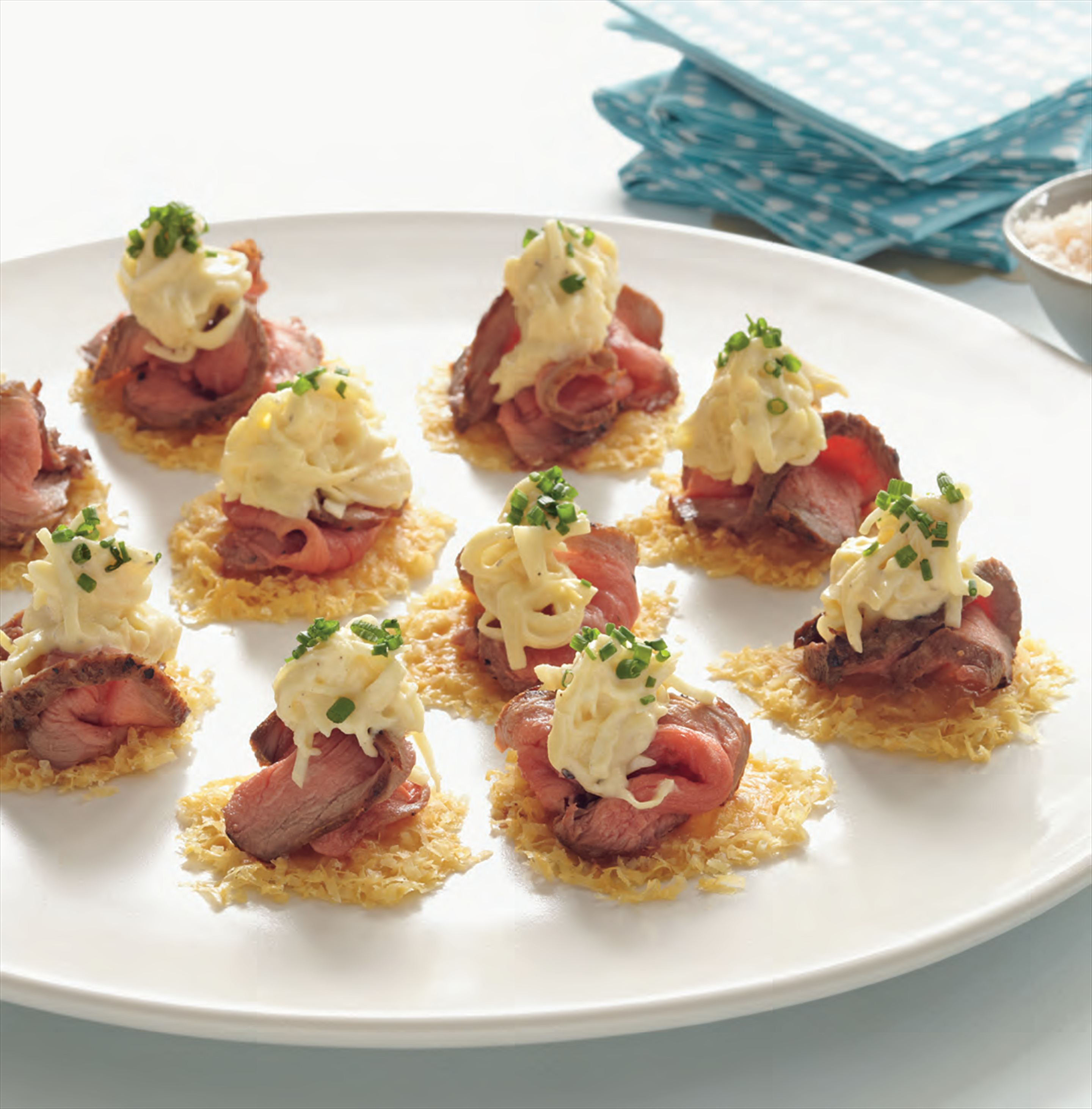 Parmesan wafers with celeriac remoulade and roast beef