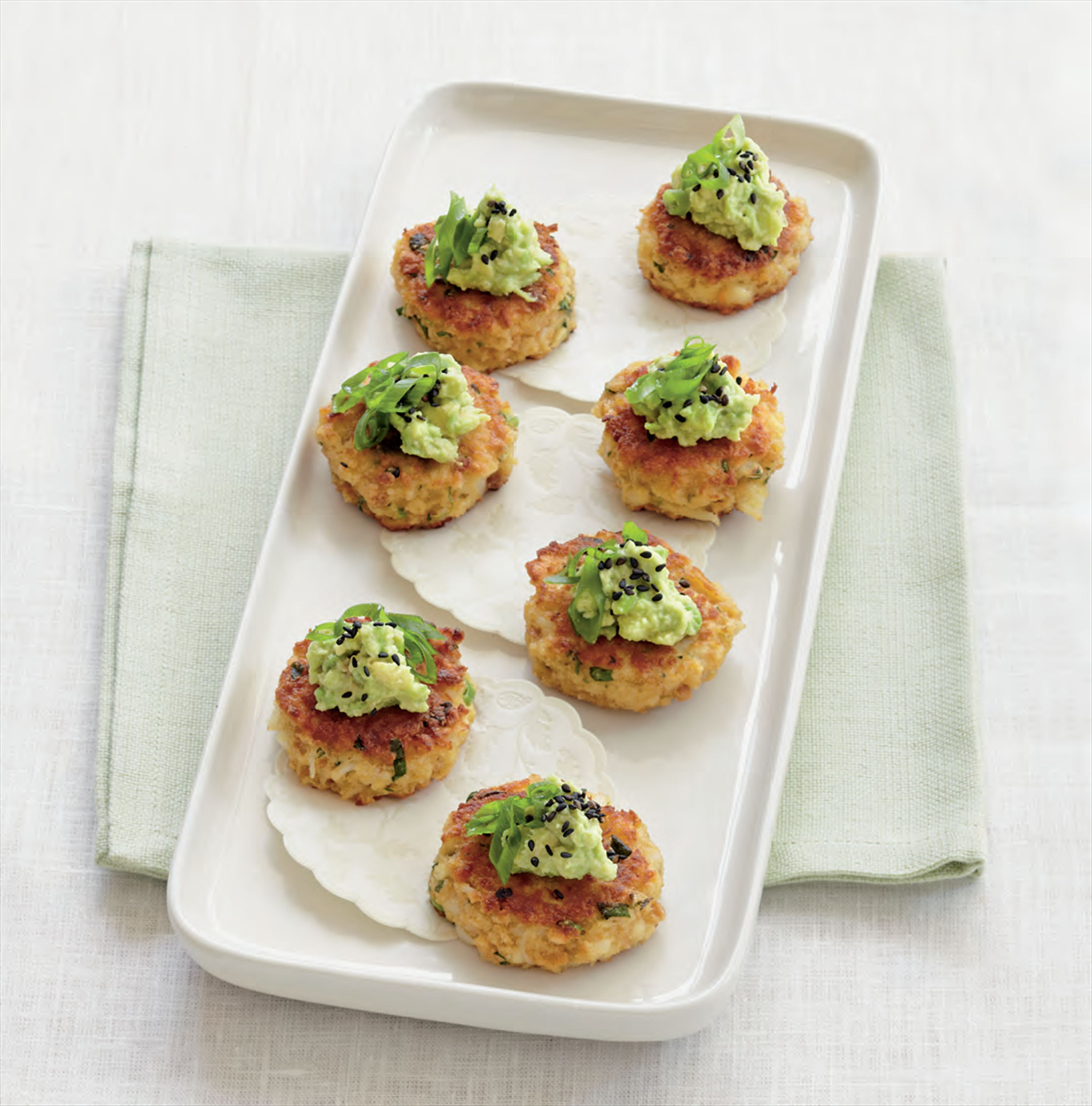 Crab cakes with wasabi avocado