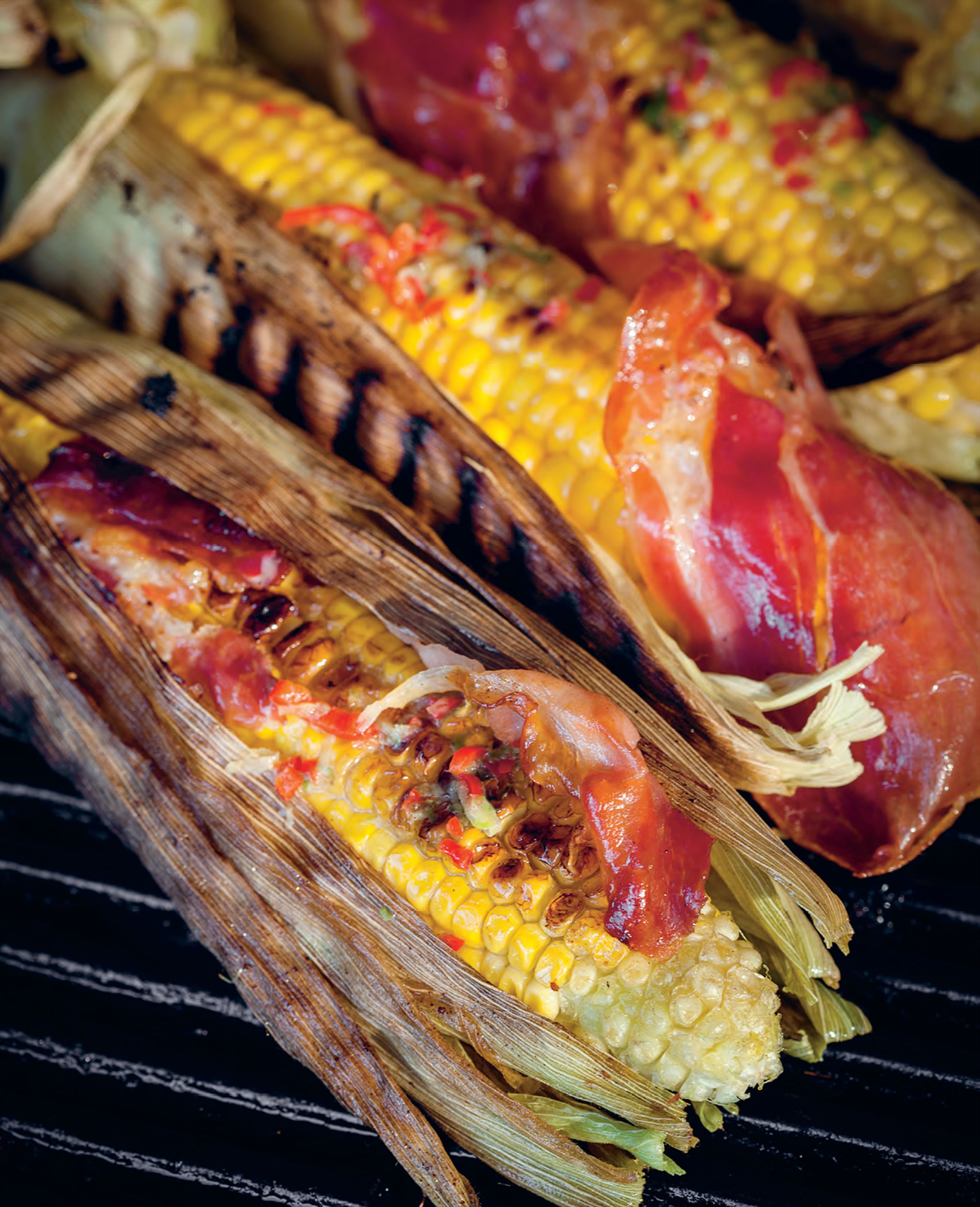 Barbecued corn with bacon and chilli butter