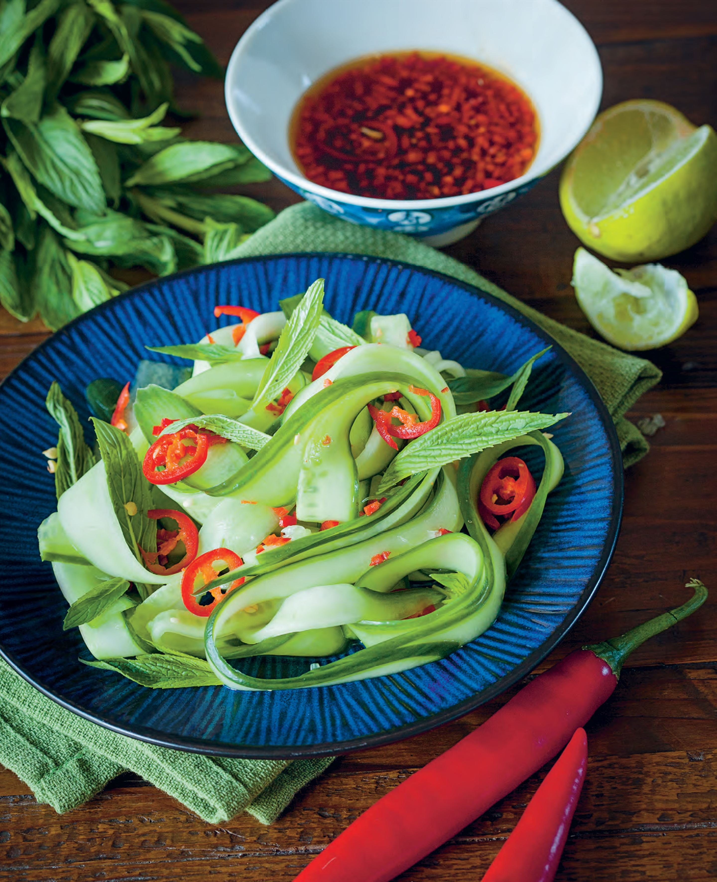 Crunchy cucumber mint and Chilli salad