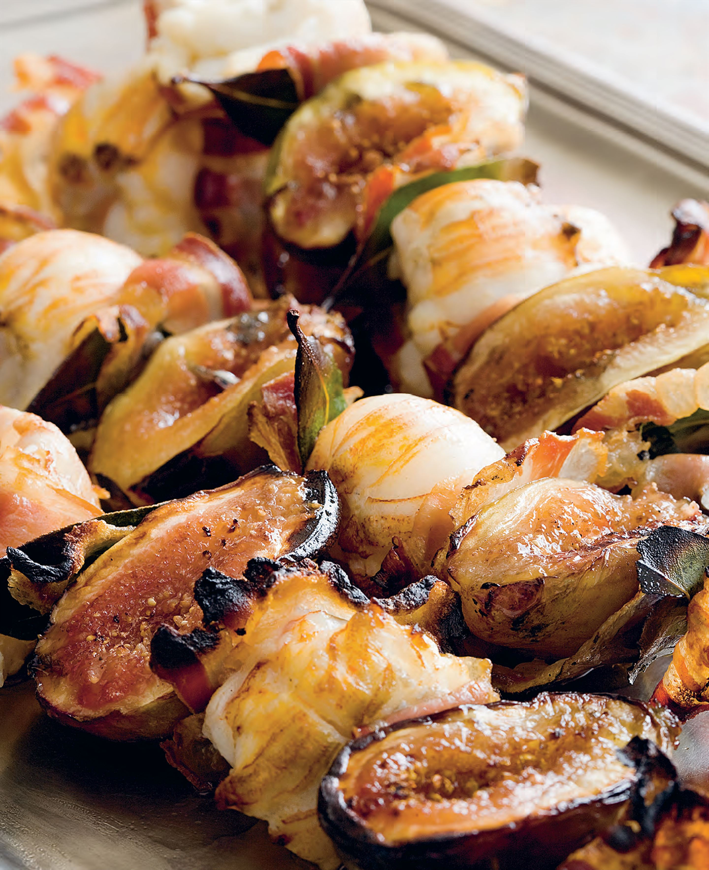 Moreton Bay bugs with figs and pancetta kebabs