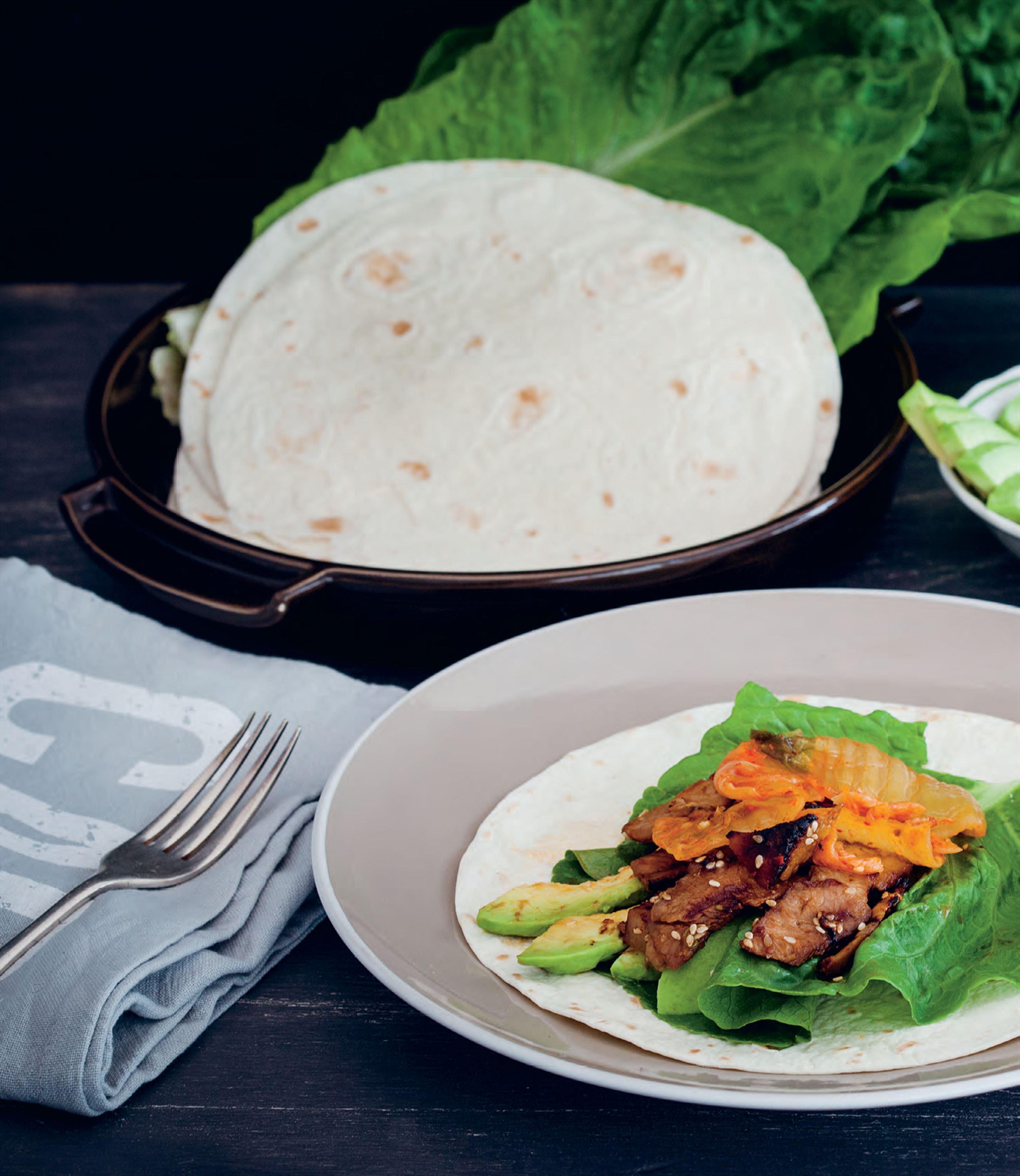Korean pork wraps