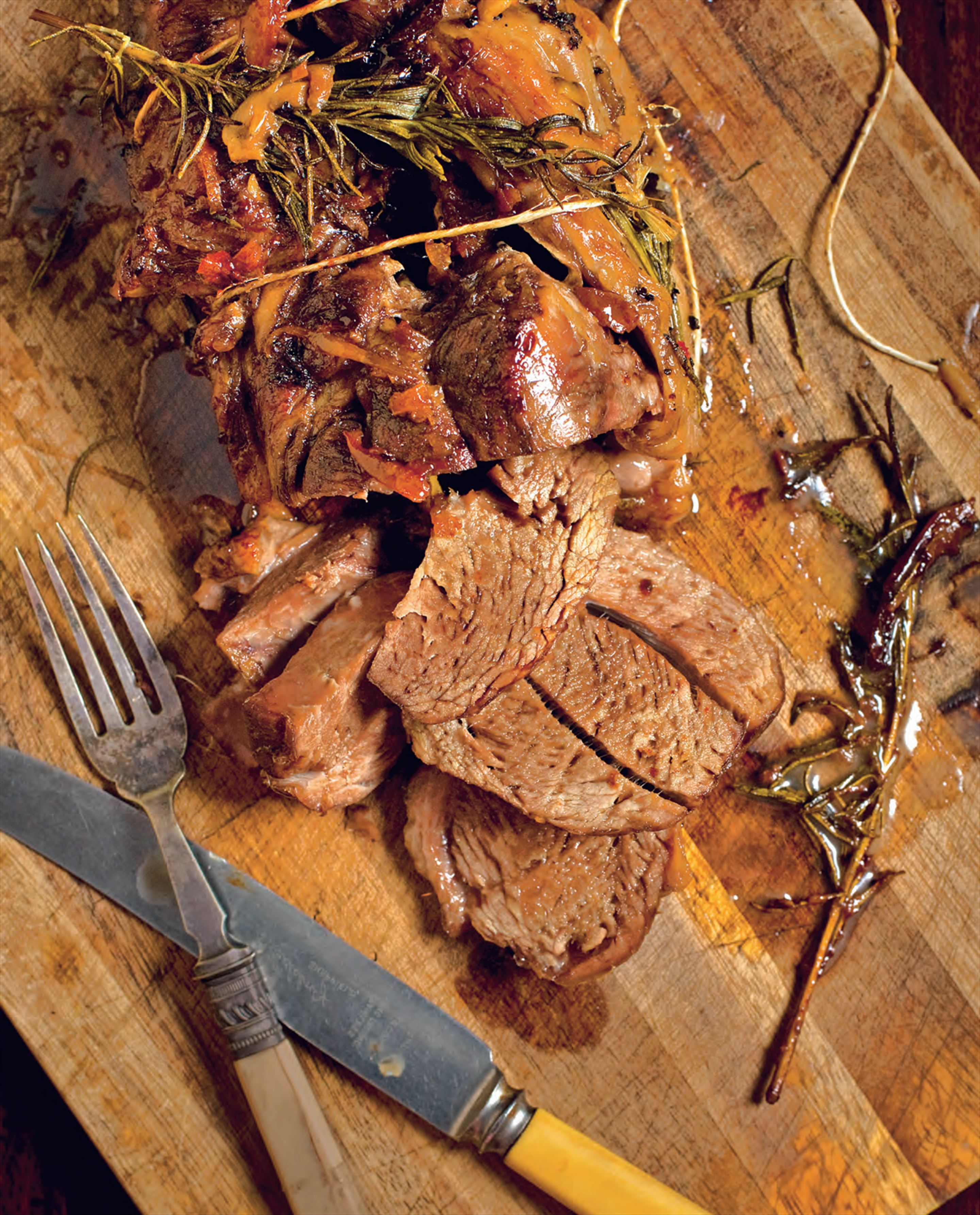 Slow-roast lamb shoulder with rosemary and preserved lemon