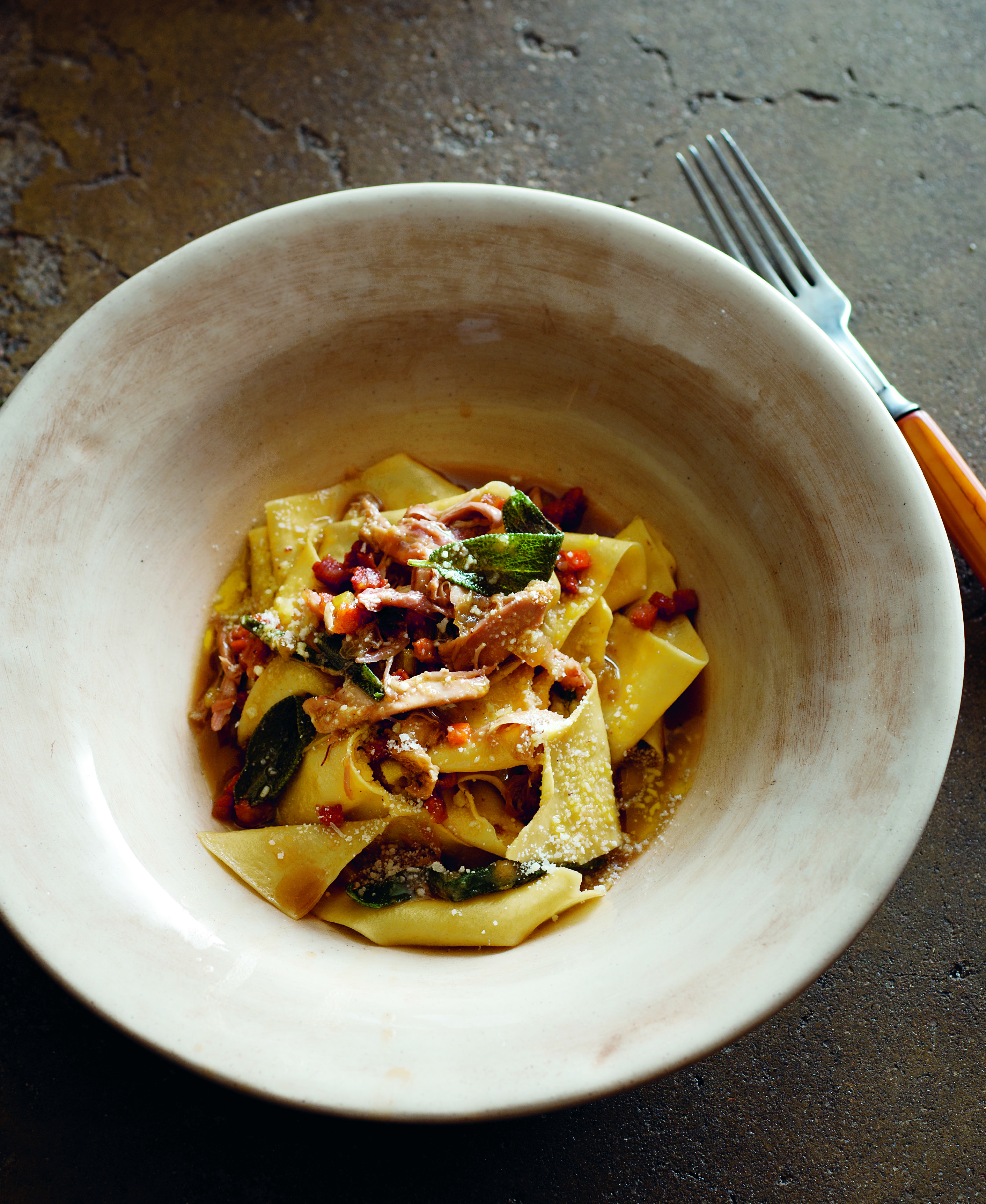 Stefano's rabbit papardelle with sage and speck