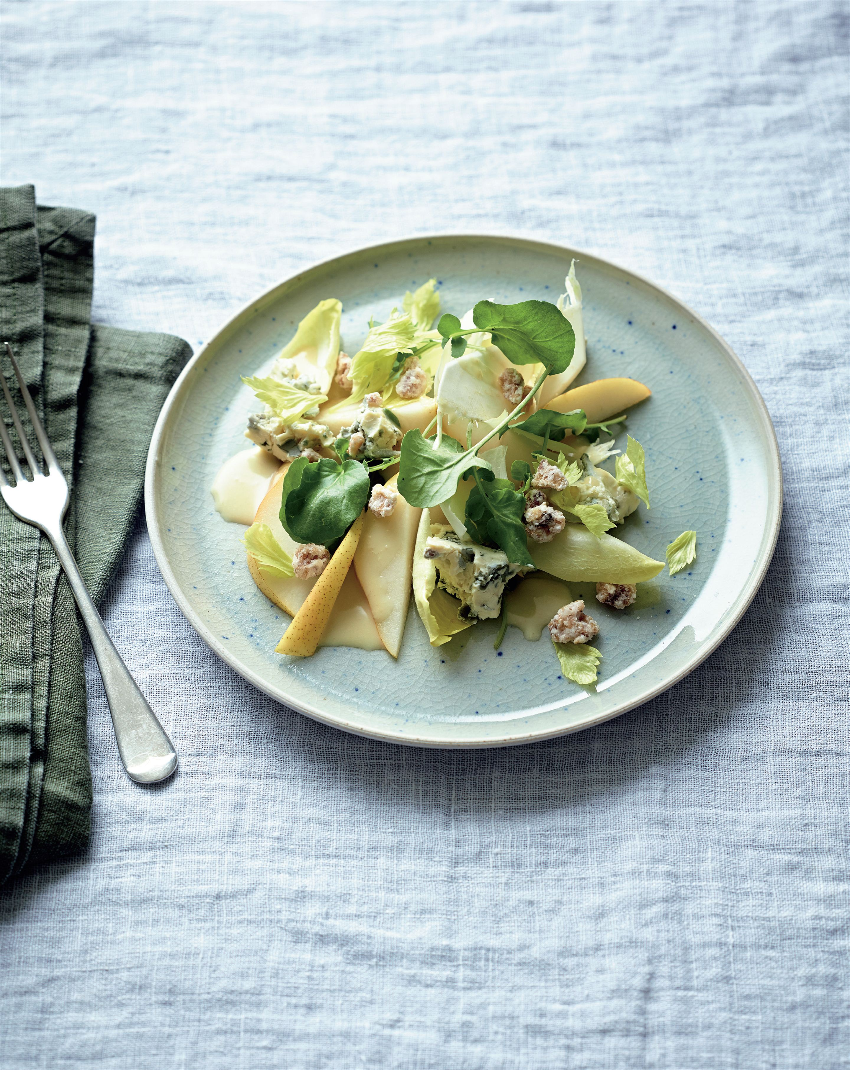 Watercress, pear and celeriac salad, candied walnuts, blue cheese