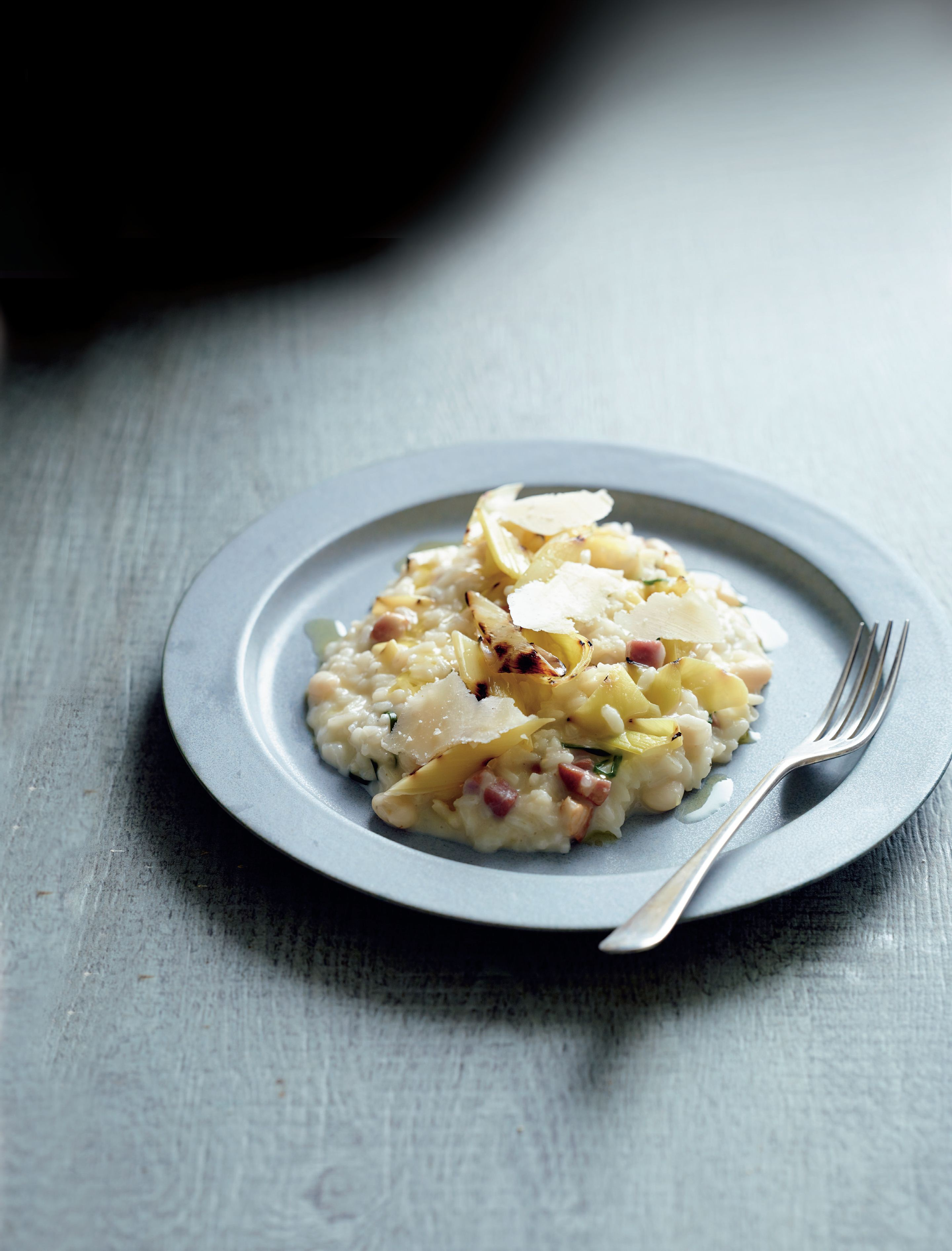 Risotto, cannellini beans, bacon, grilled leek, fontina