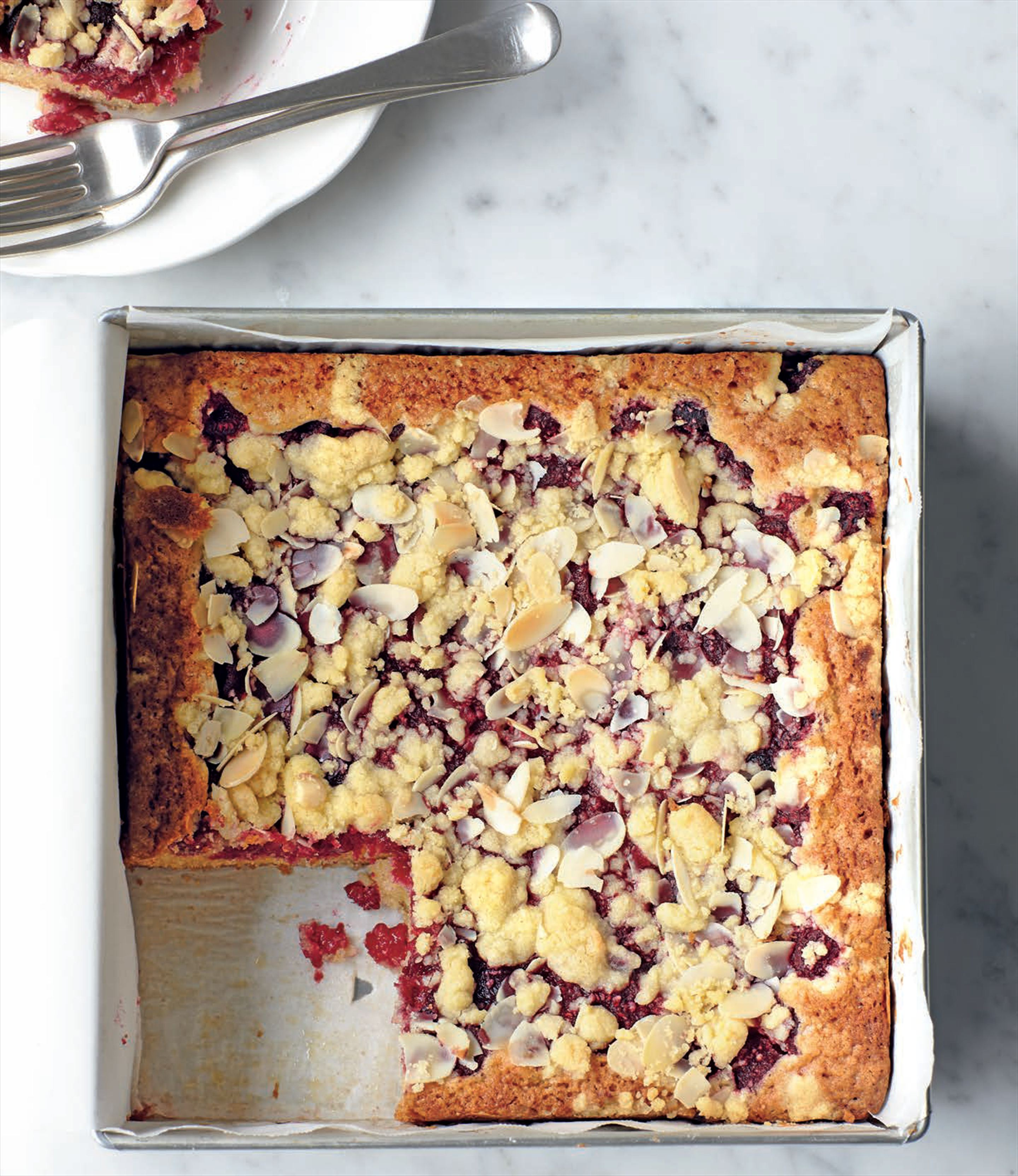 Raspberry & almond slab cake