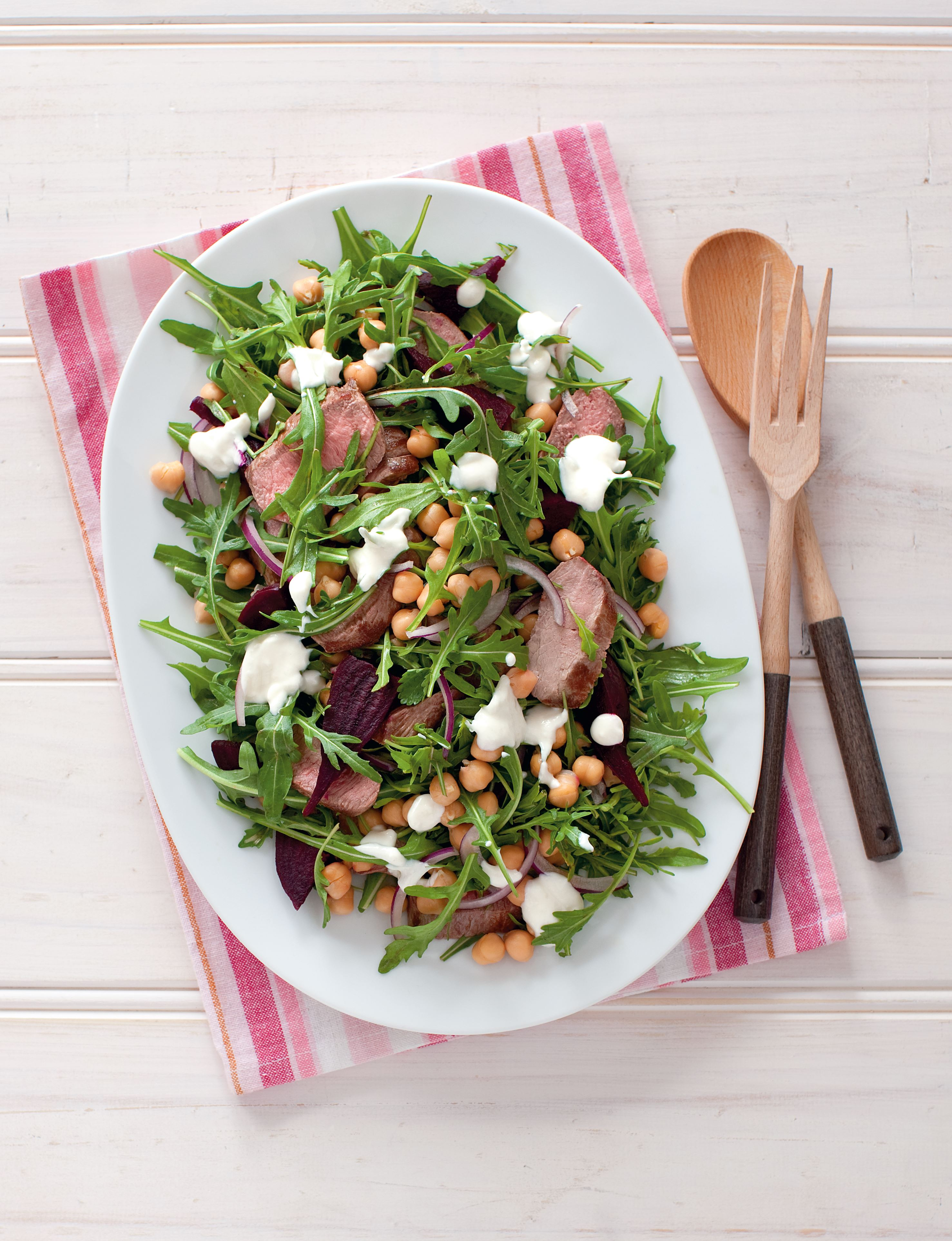 Lamb, beetroot, rocket and yoghurt salad