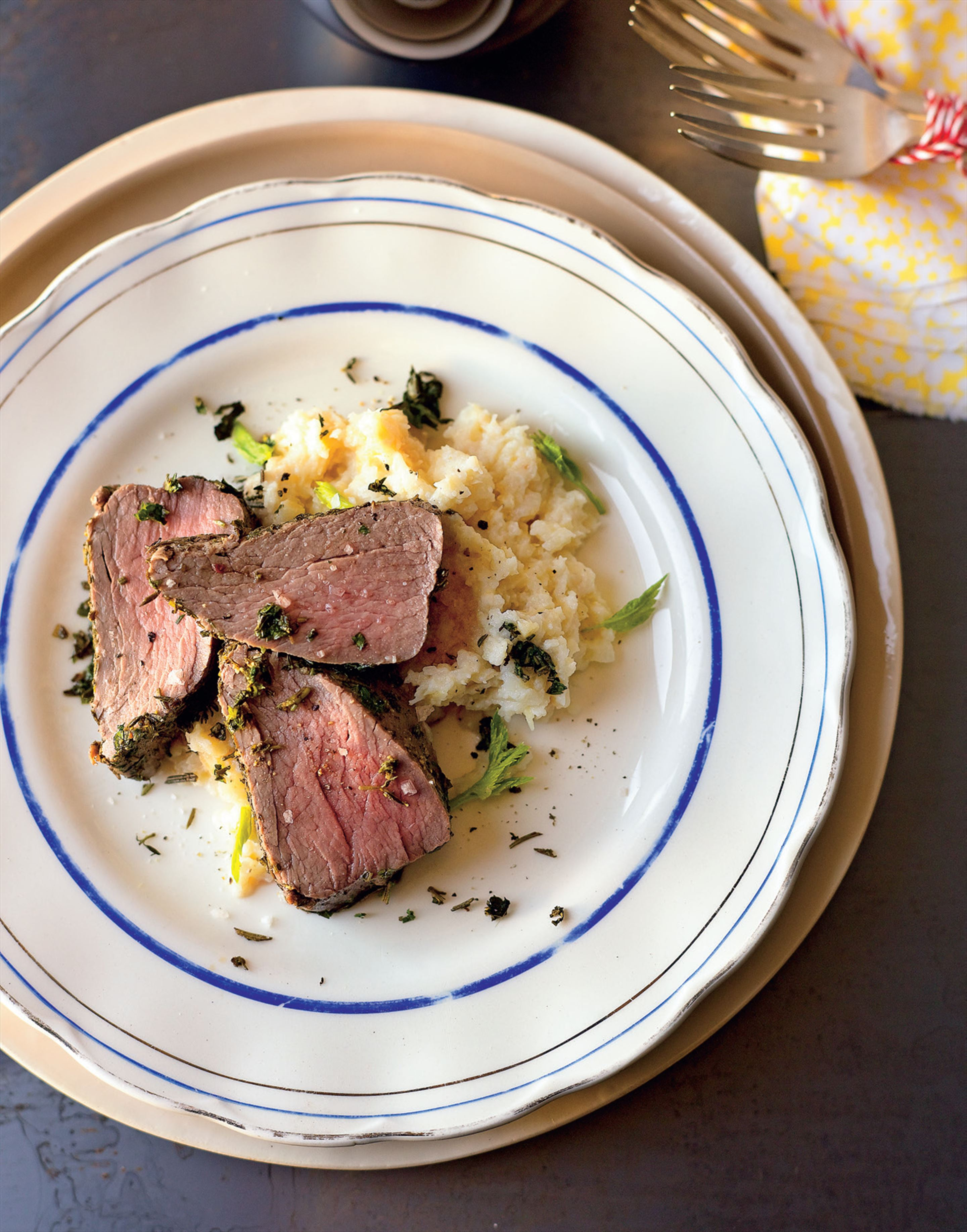 Herb and peppered eye fillet beef with celeriac and horseradish mash