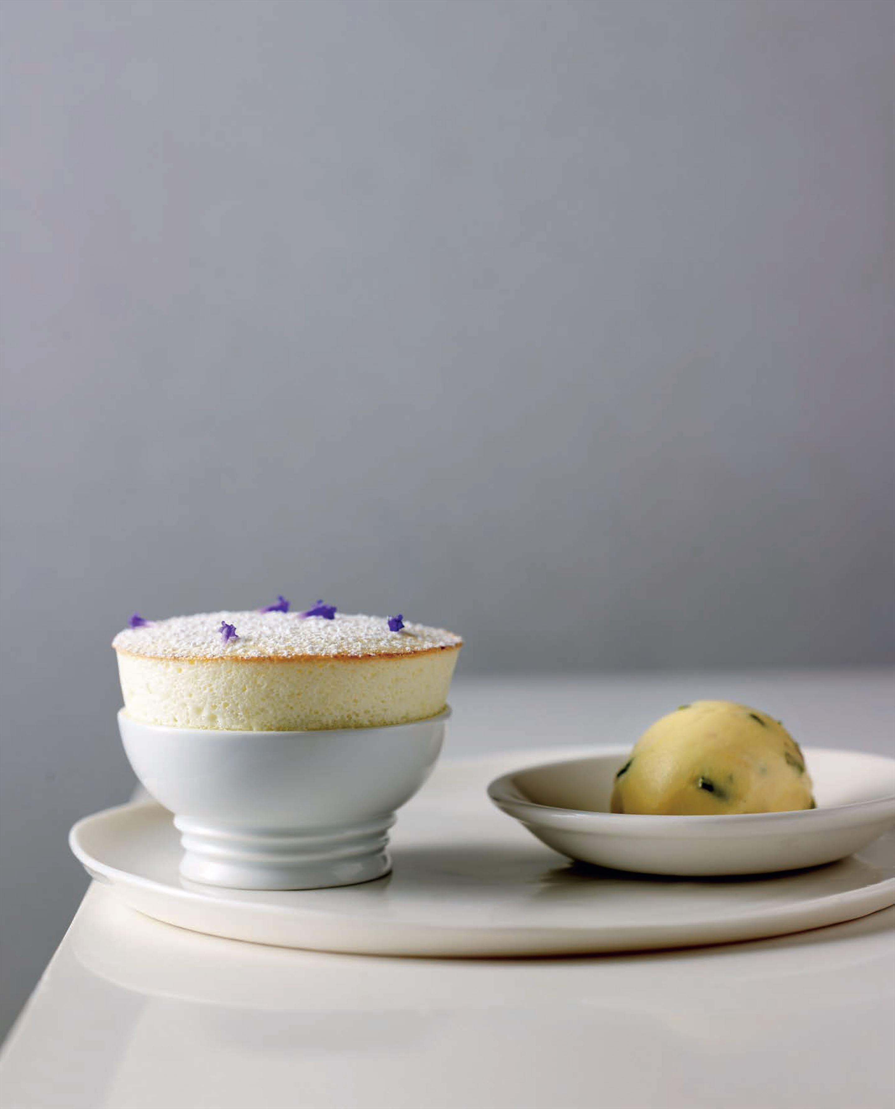 Green apple soufflé with pistachio-halva ice cream
