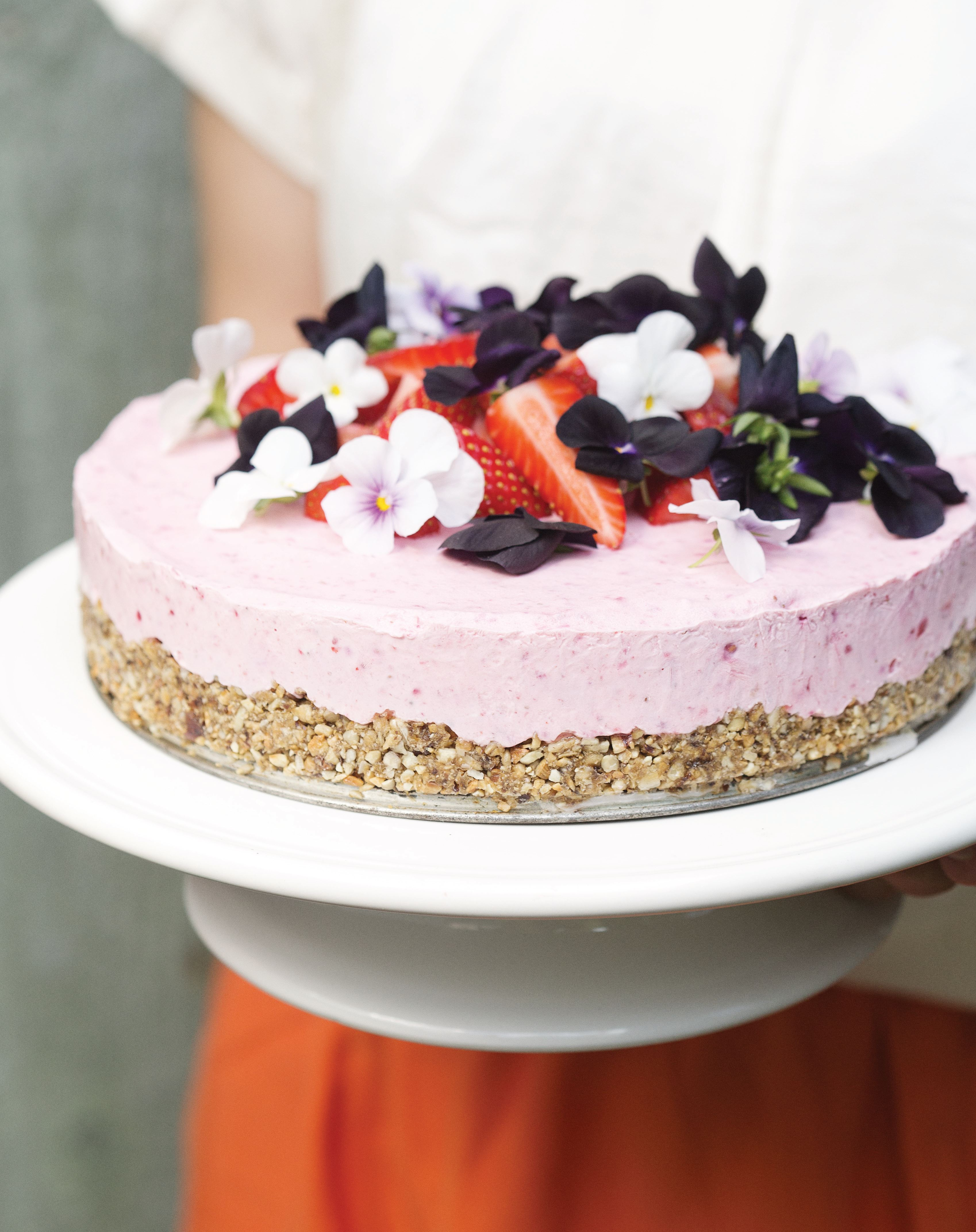 Frozen strawberry cheesecake on a sunflower crust