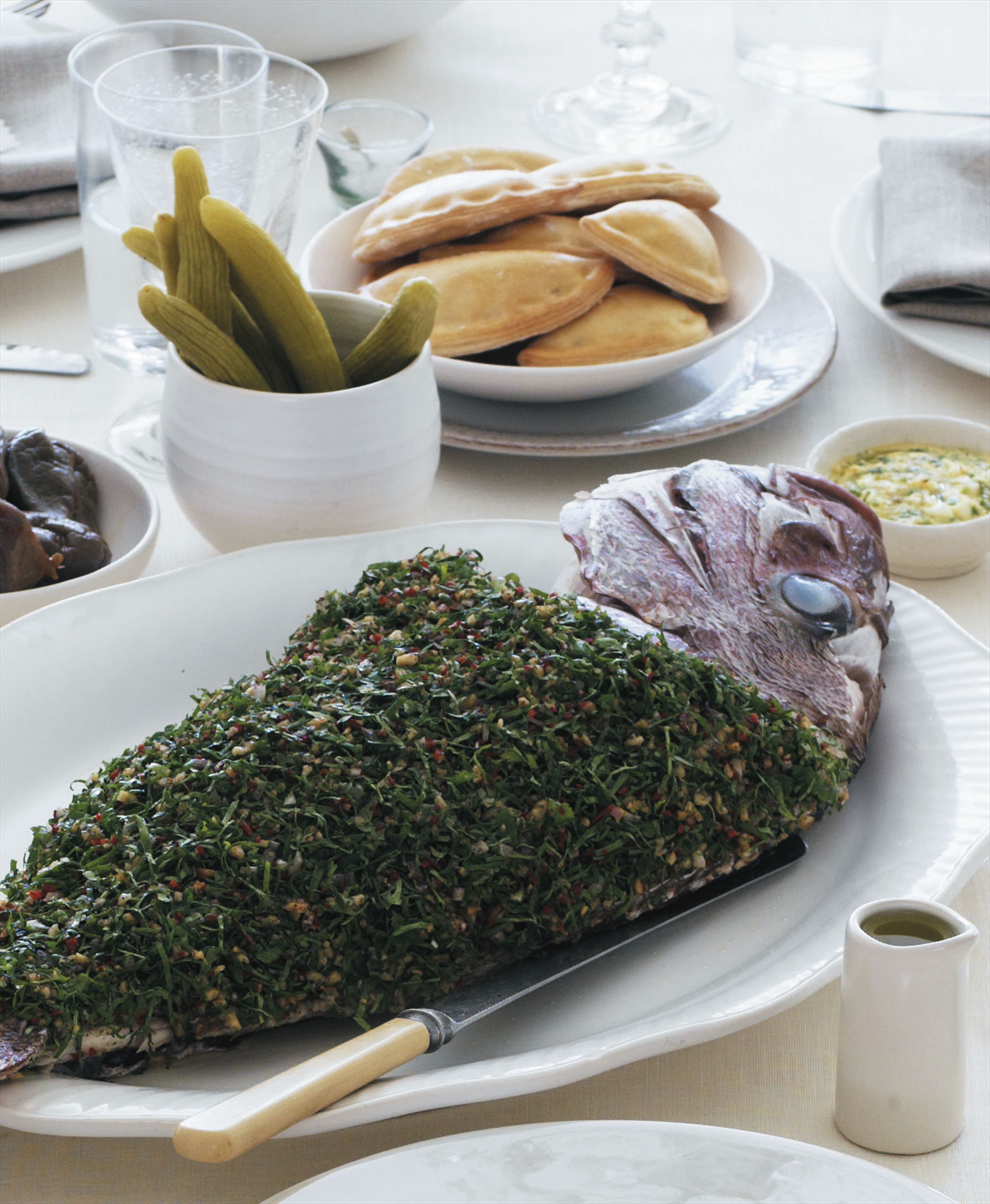 Whole roasted snapper with walnut-coriander dressing