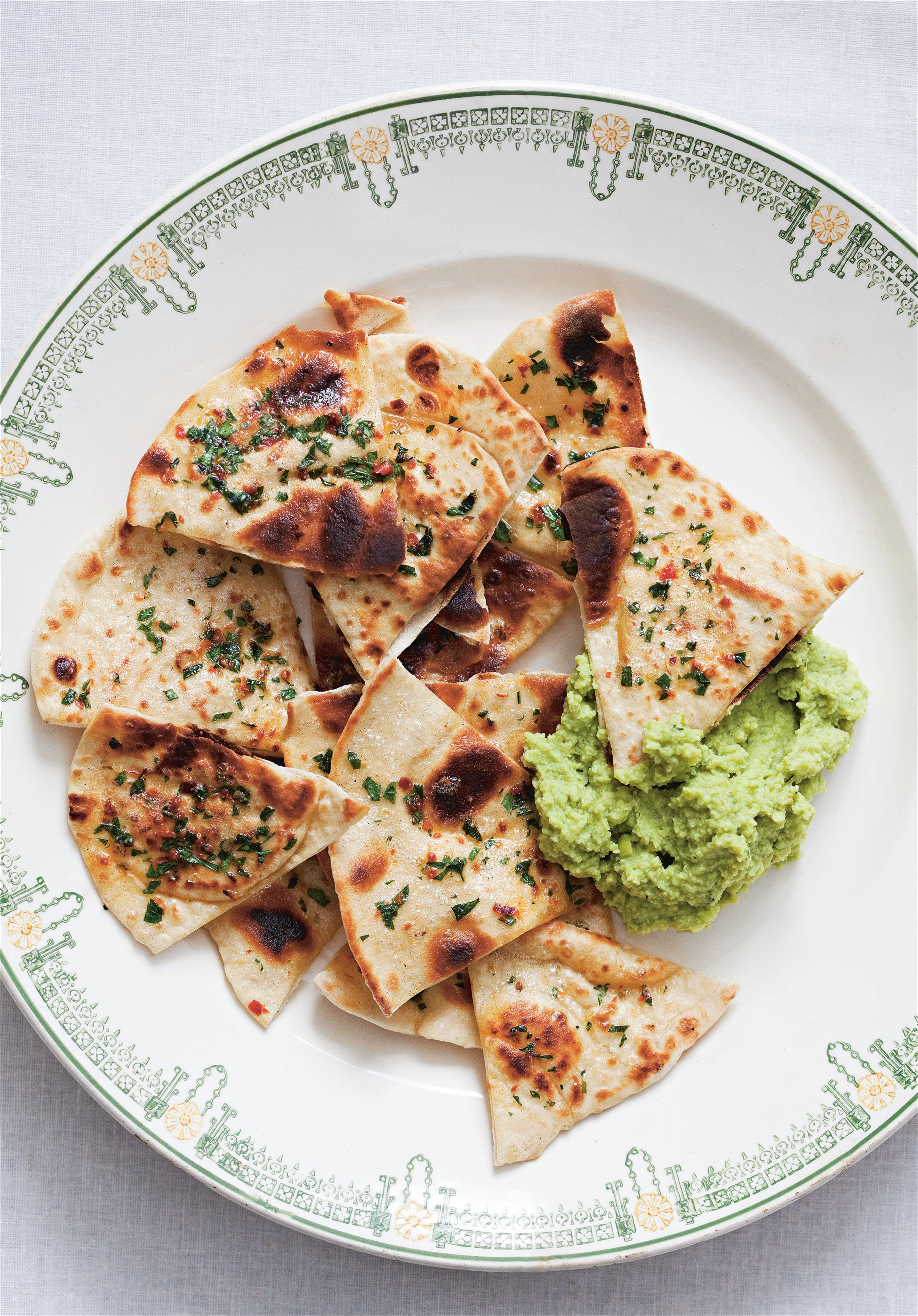 Broad bean dip (with crispy herbed flatbreads)