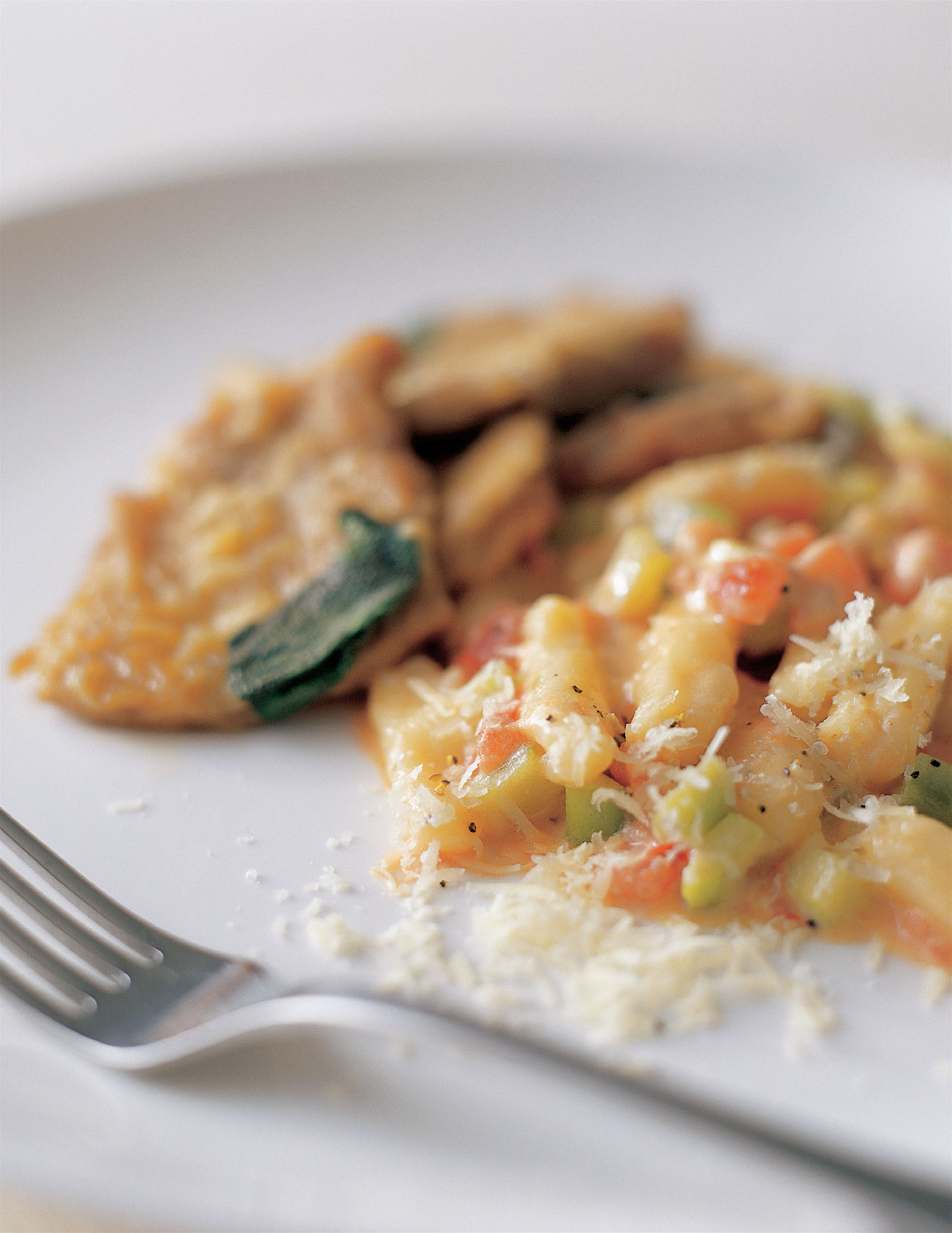Cavatelli with cucumber sauce and veal scaloppine