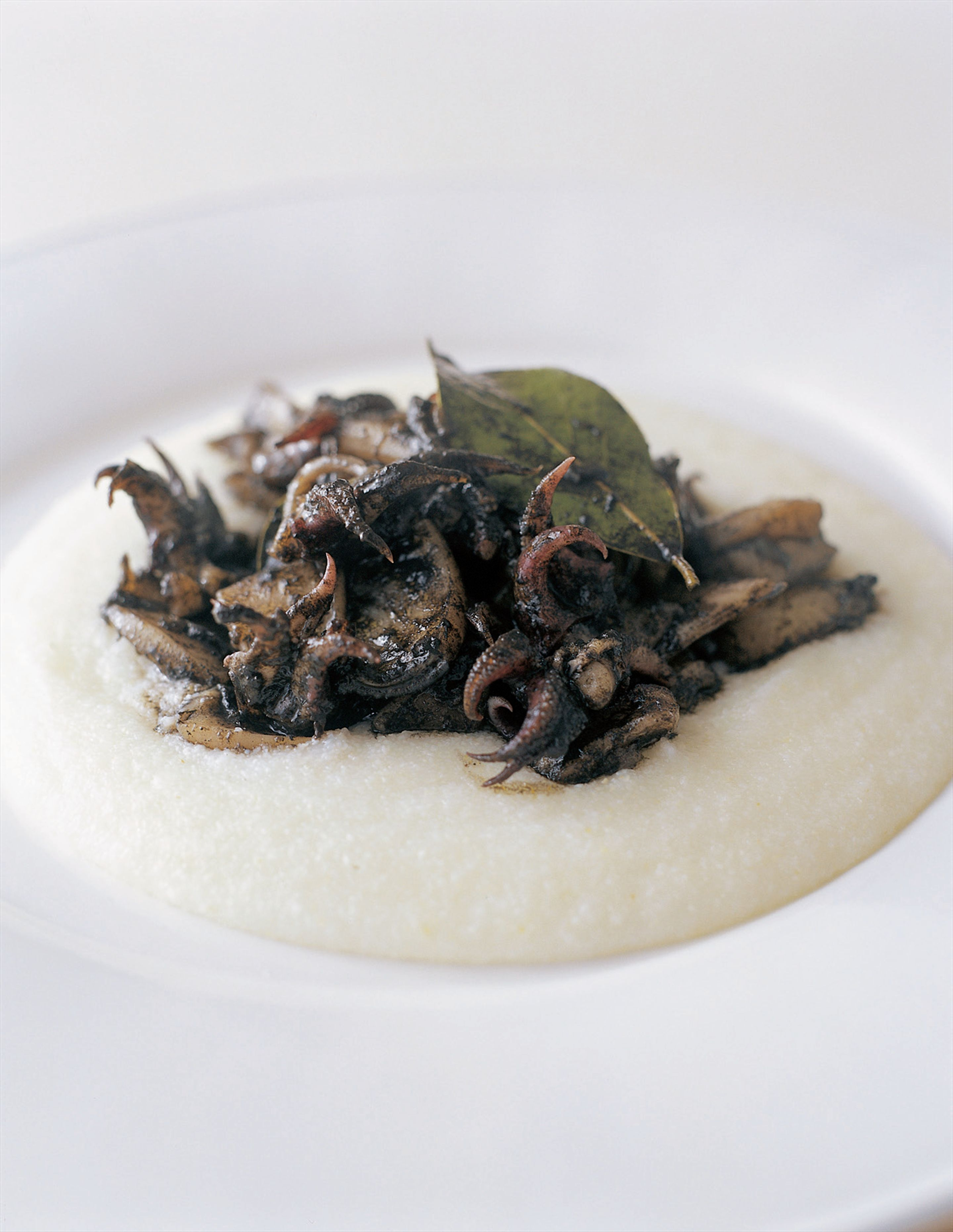 White polenta with black cuttlefish