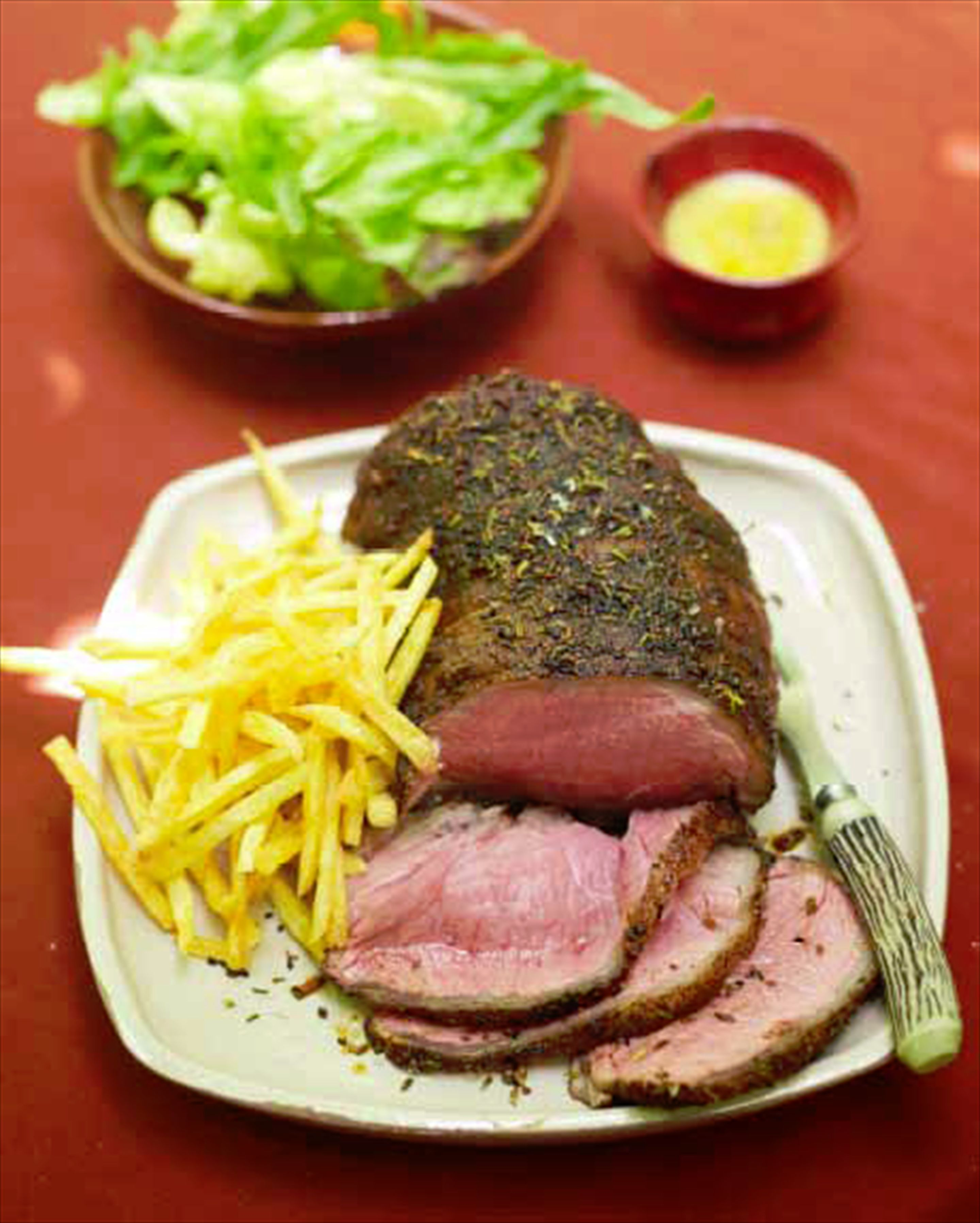 Roast spiced beef with french fries
