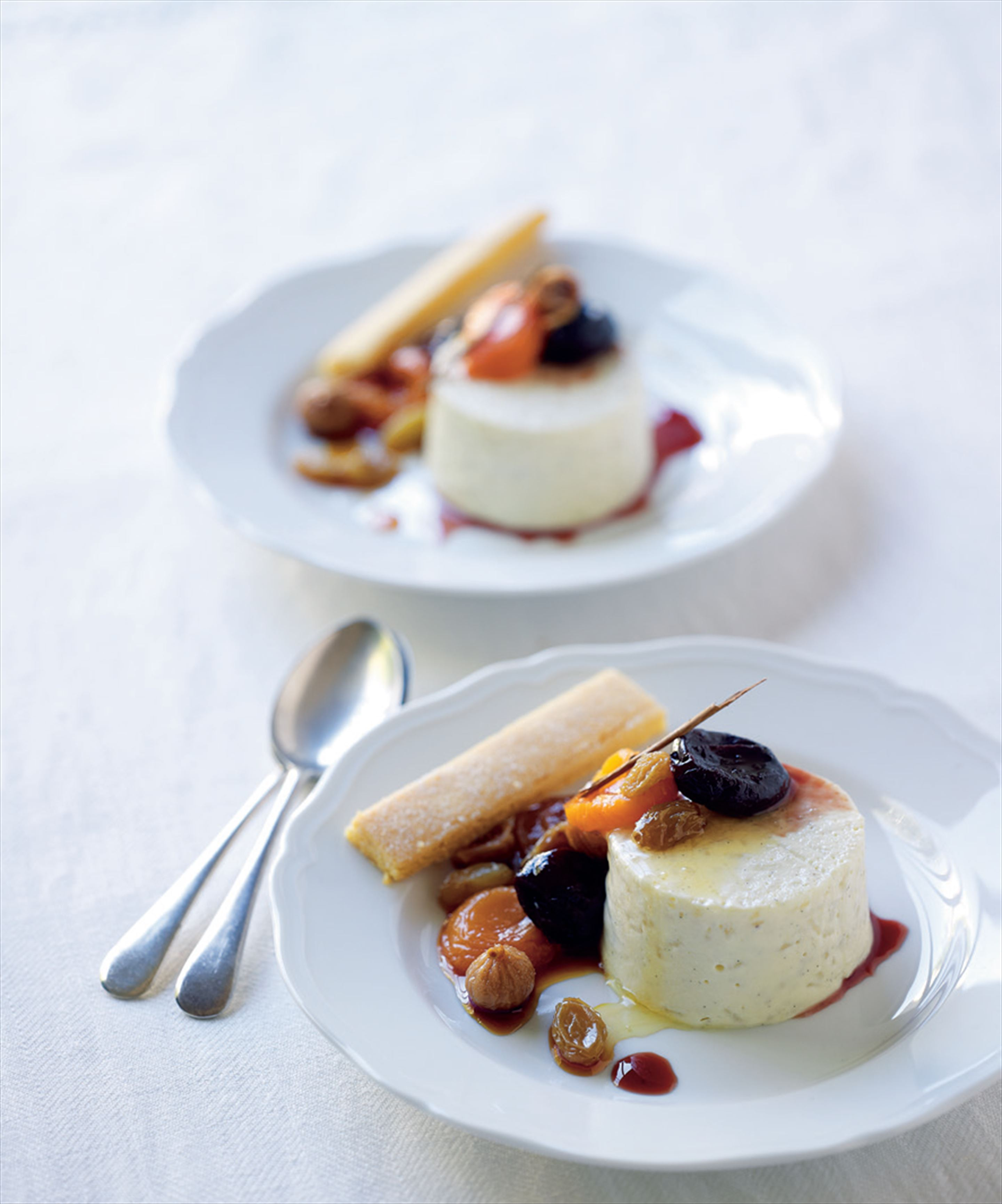 Rice pudding with poached dried fruit