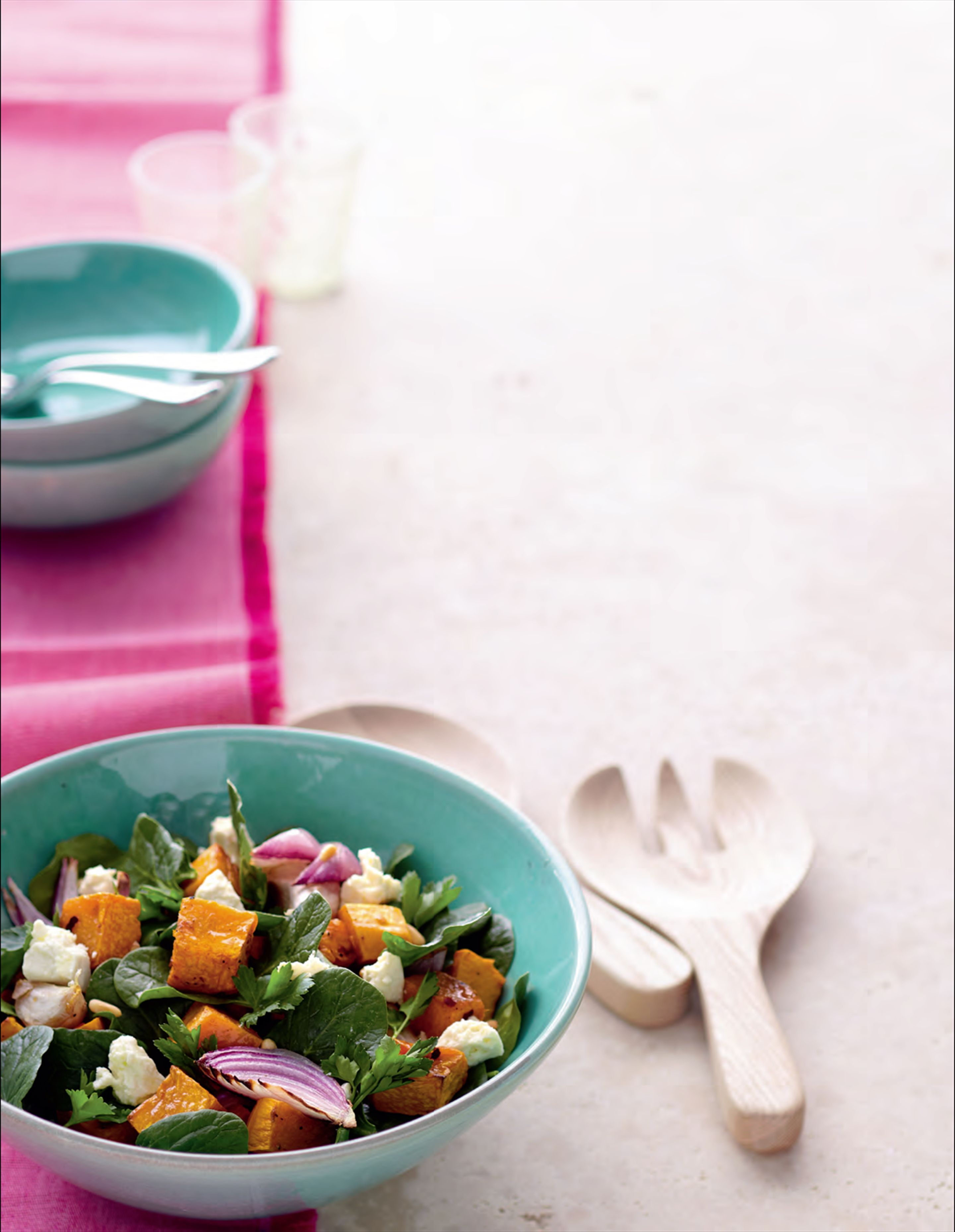 Warm pumpkin and spinach salad