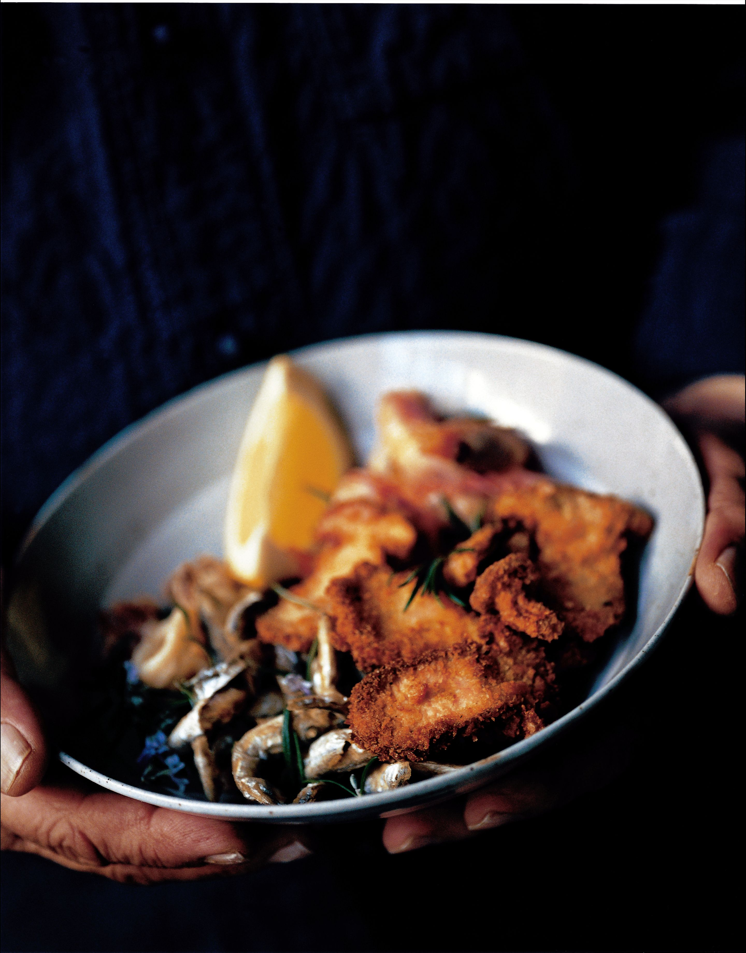 Fried seafood and mushrooms