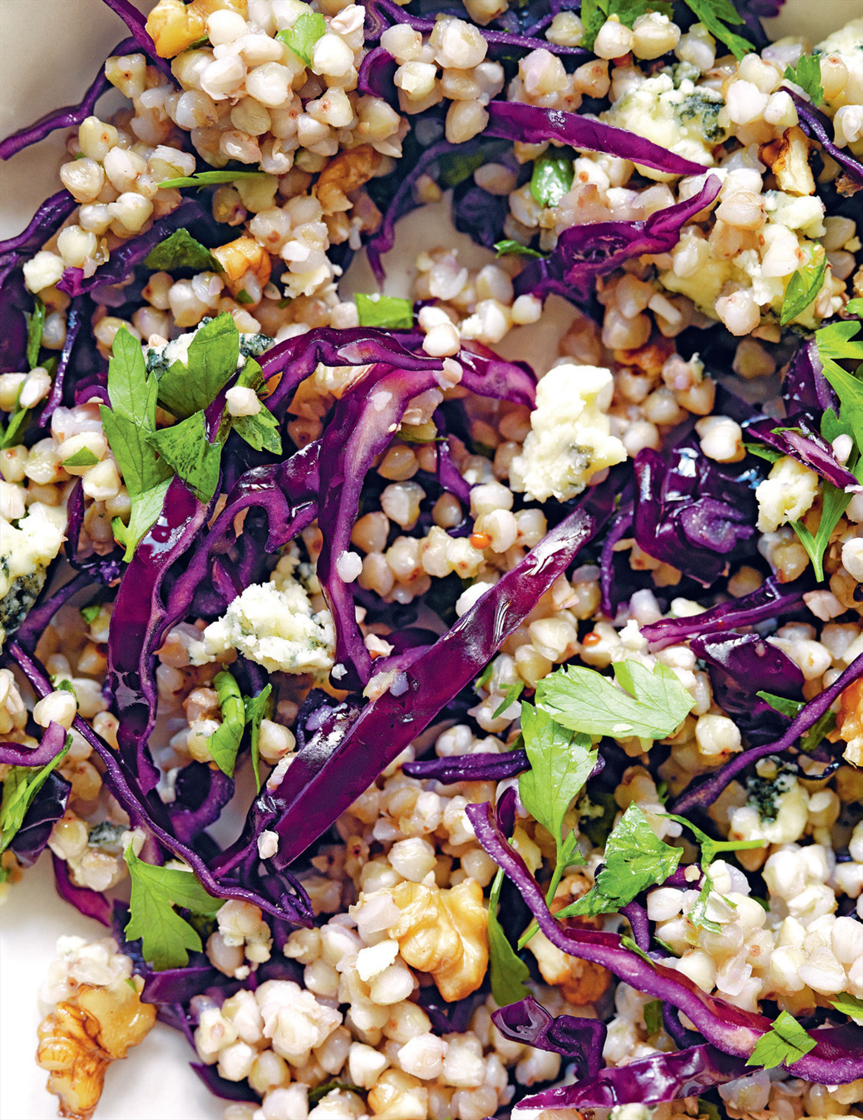 Buckwheat & red cabbage salad with sour cherries and blue cheese