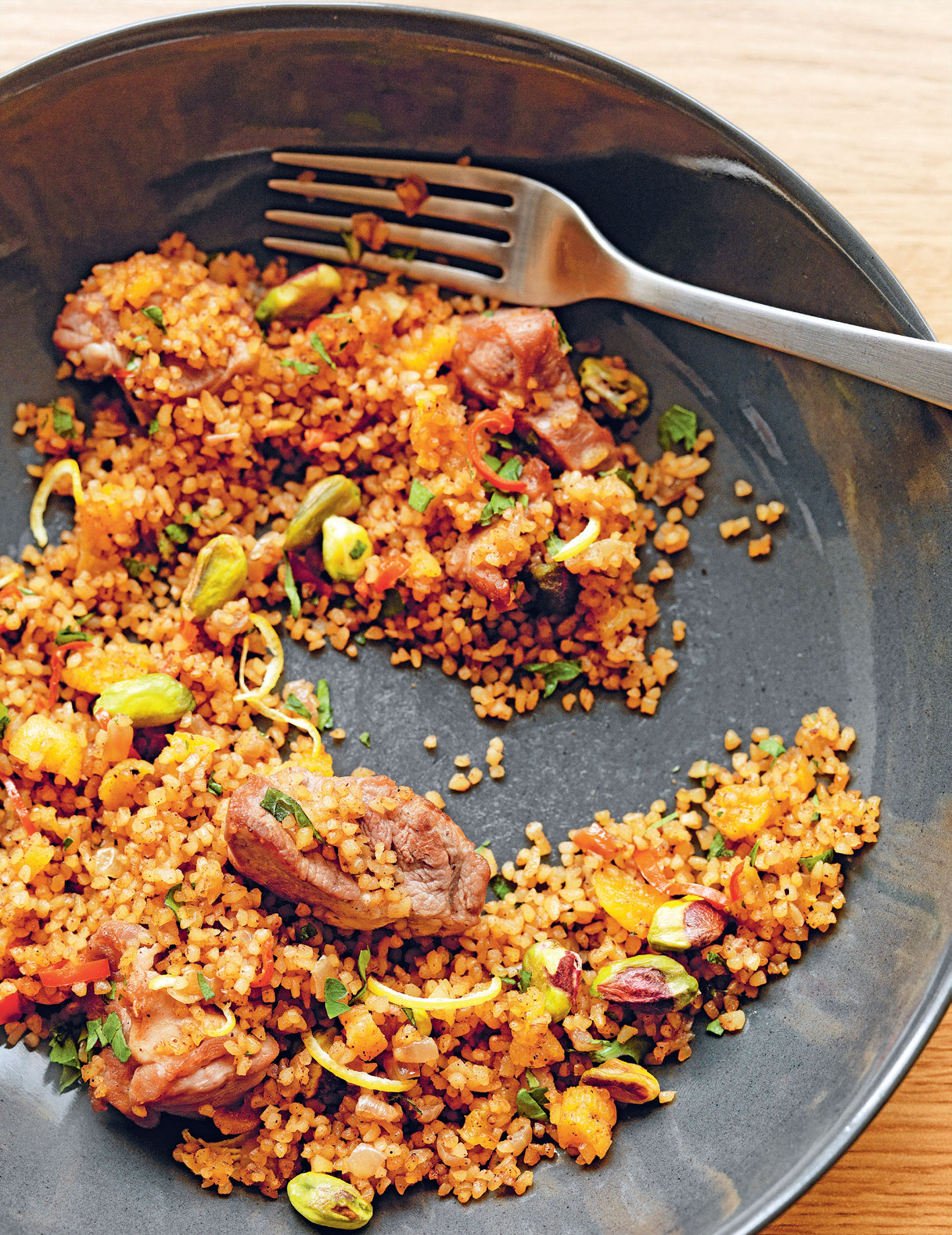 Lamb & burghul pilaff with apricots, preserved lemon & pistachios