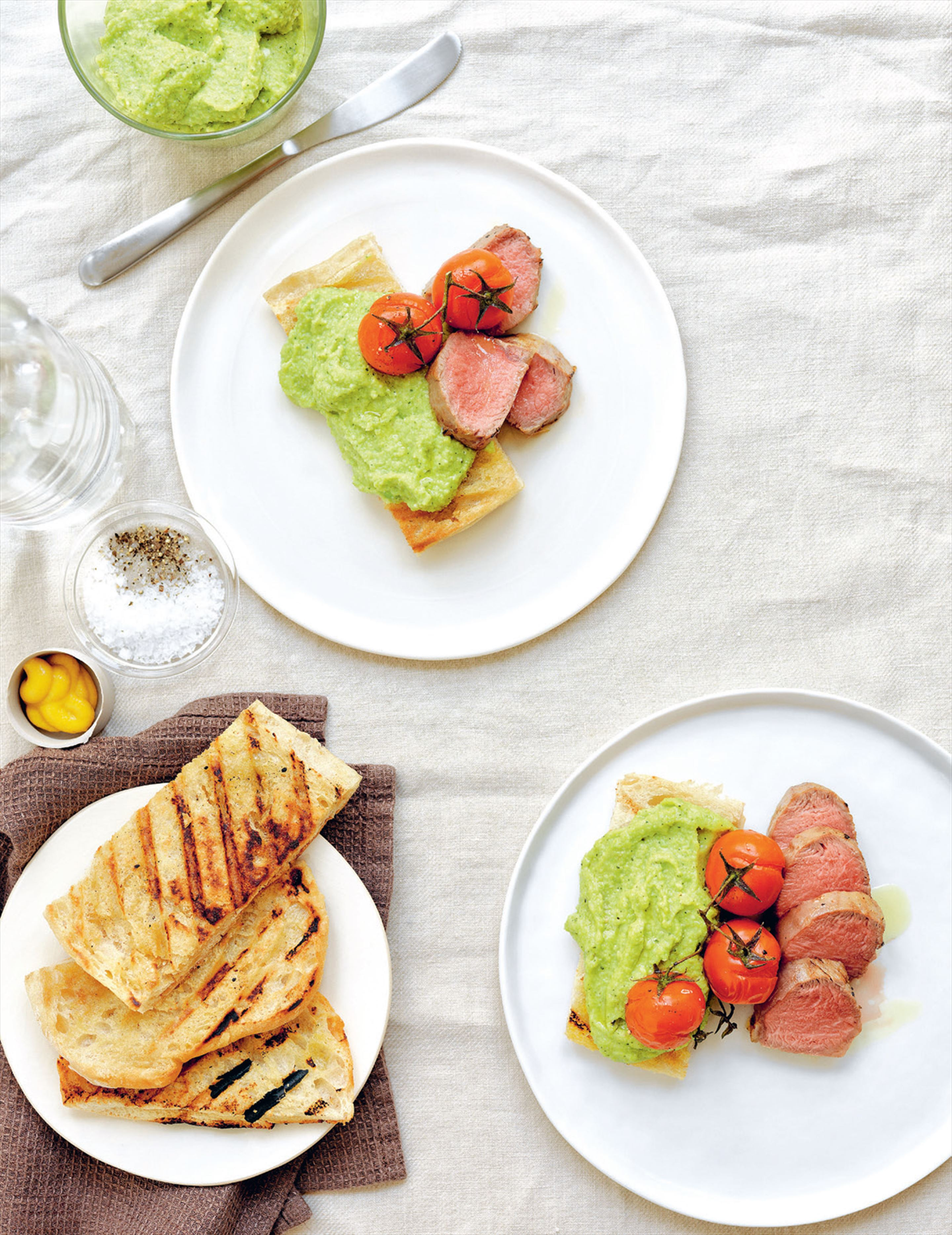 Seared lamb fillet with Ligurian broad bean pesto