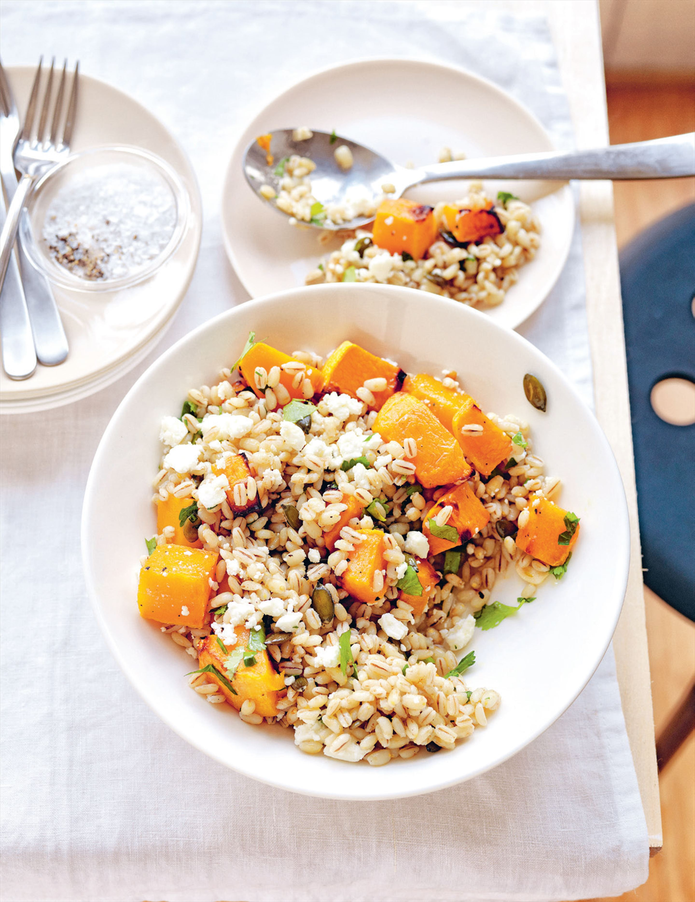 Warm barley with roast pumpkin & feta